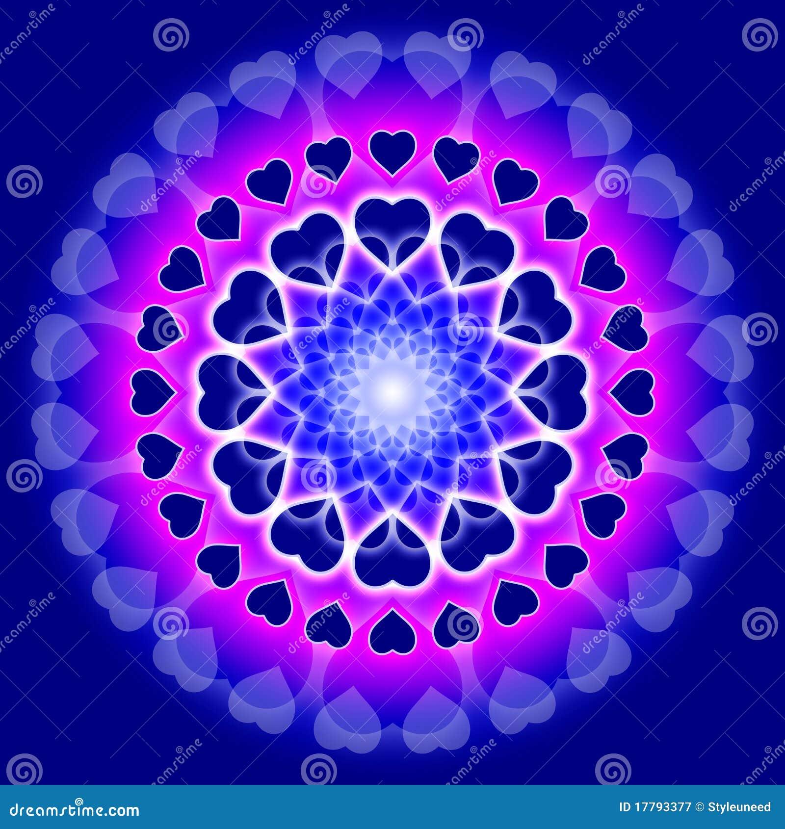 Mandala Azul Del Amor Círculo De Corazones Stock De Ilustración