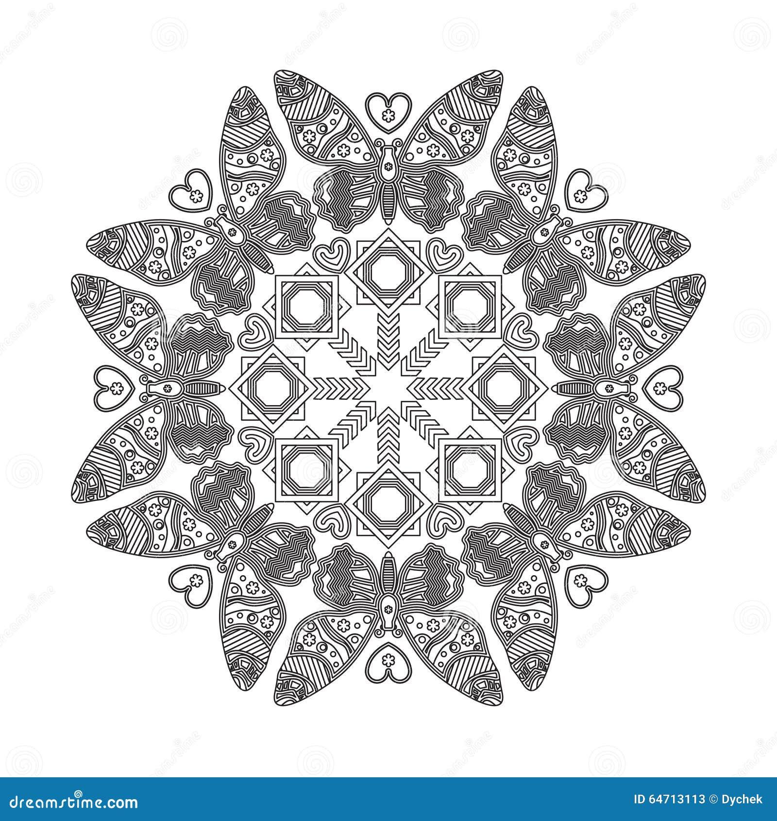 Mandala With Beautiful Butterflies. Stock Vector ... Бесконечный Узел Тату