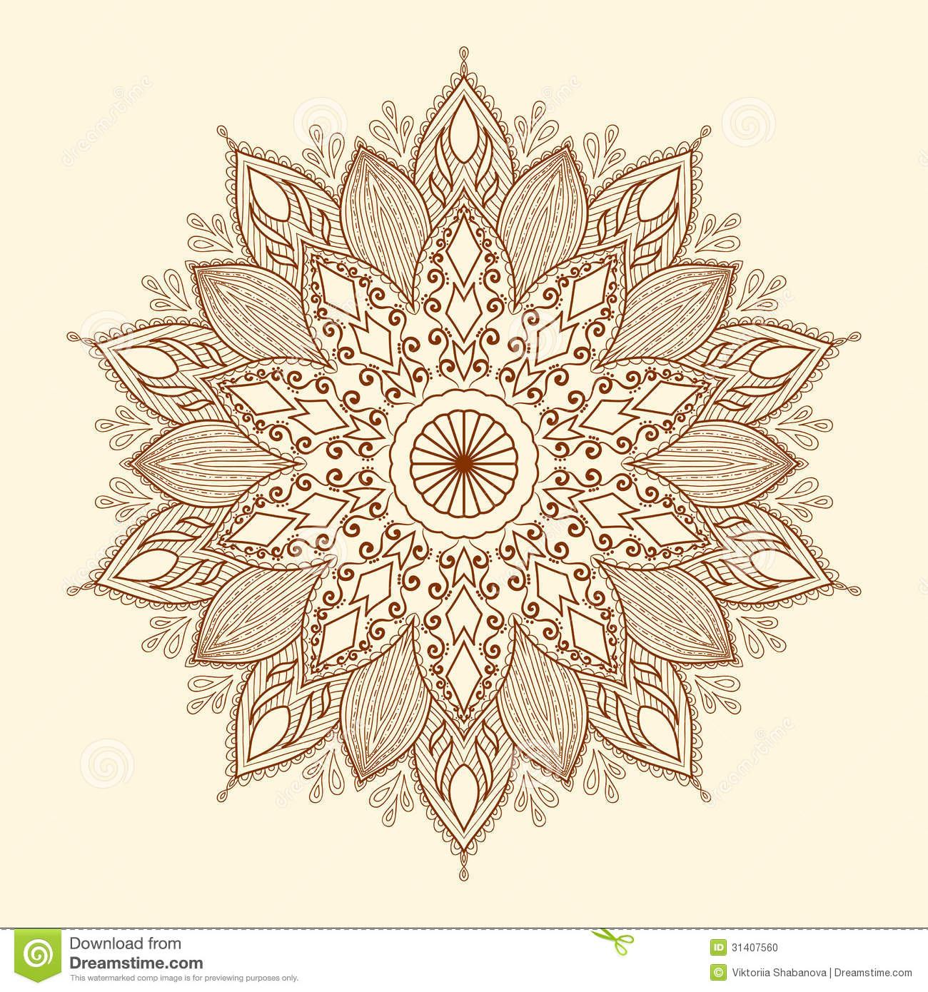 mandala beautiful hand drawn flower stock vector image 31407560. Black Bedroom Furniture Sets. Home Design Ideas