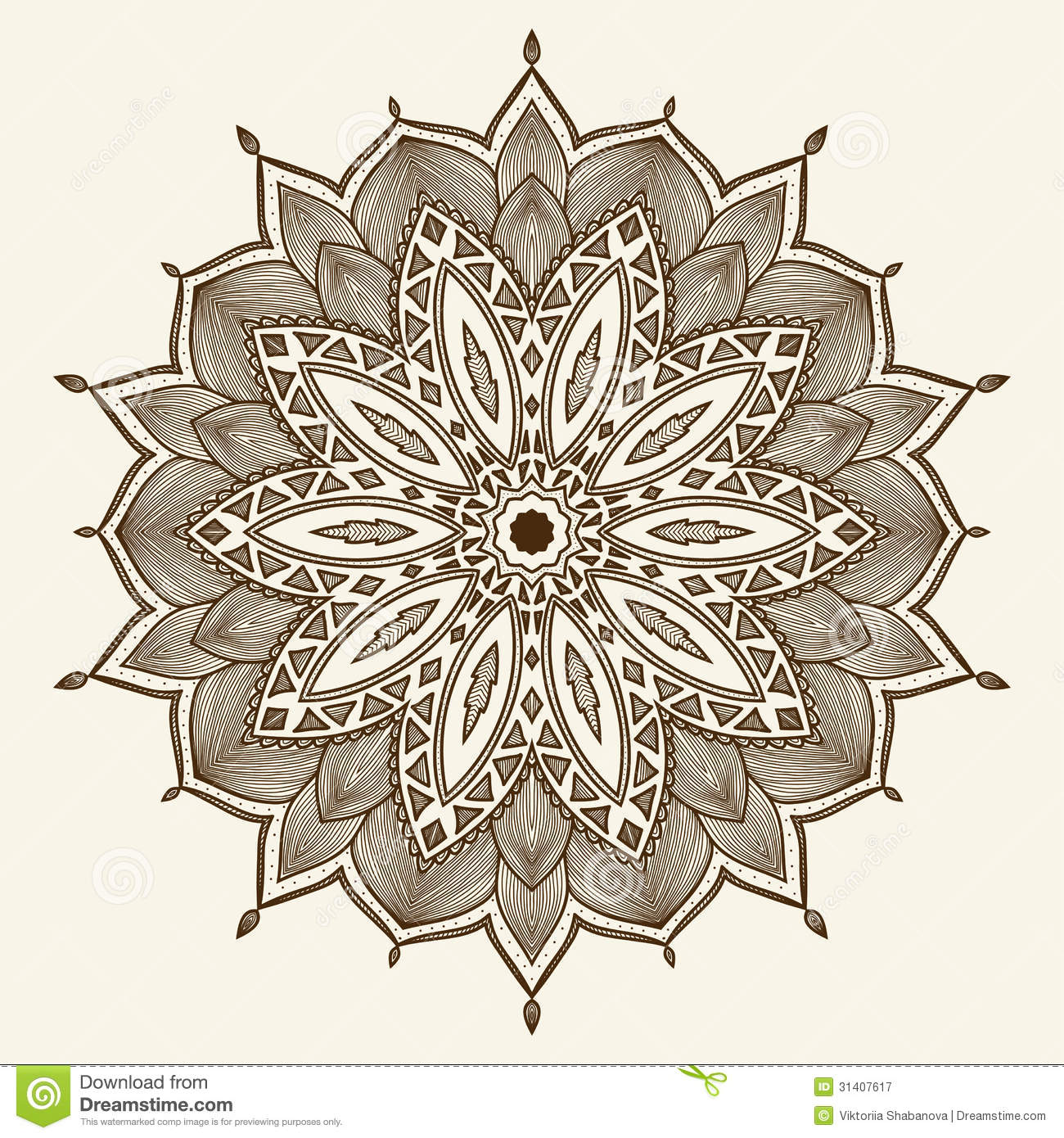 mandala beautiful hand drawn flower royalty free stock photography image 31407617. Black Bedroom Furniture Sets. Home Design Ideas