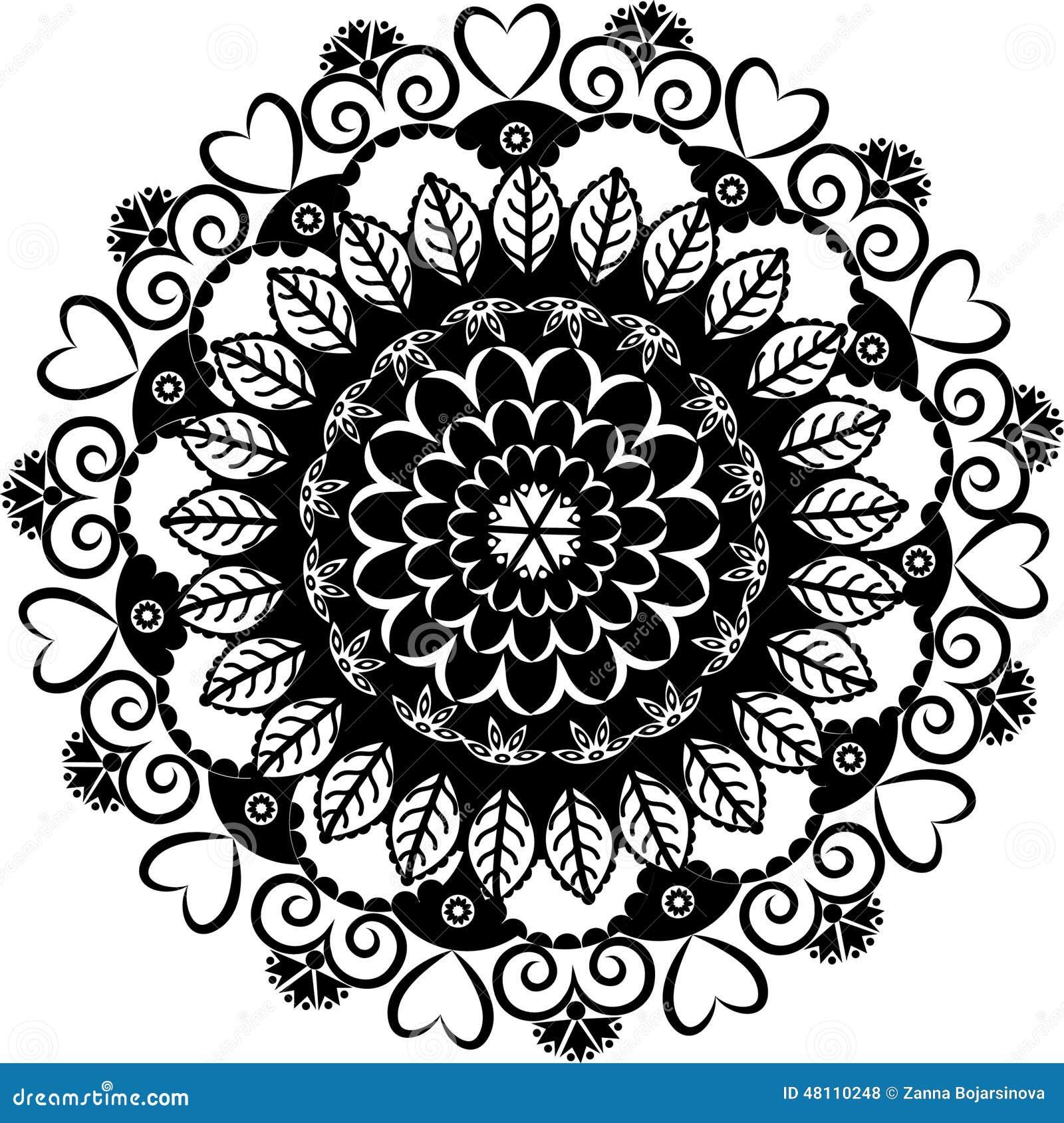 Mandala Blanco Y Negro Ilustración Del Vector Ilustración De Indio