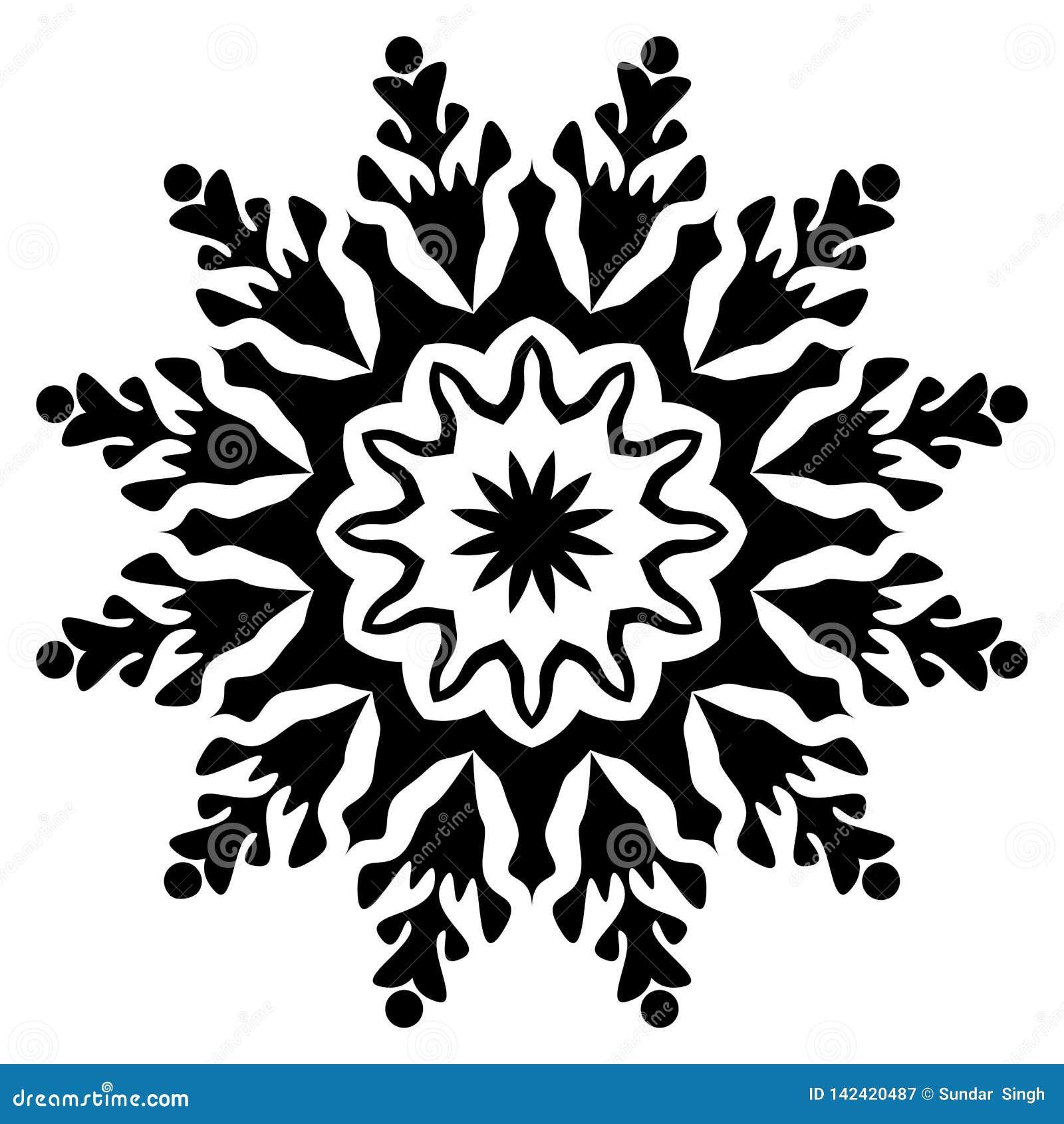Mandala blanco y negro Flor, gráfico