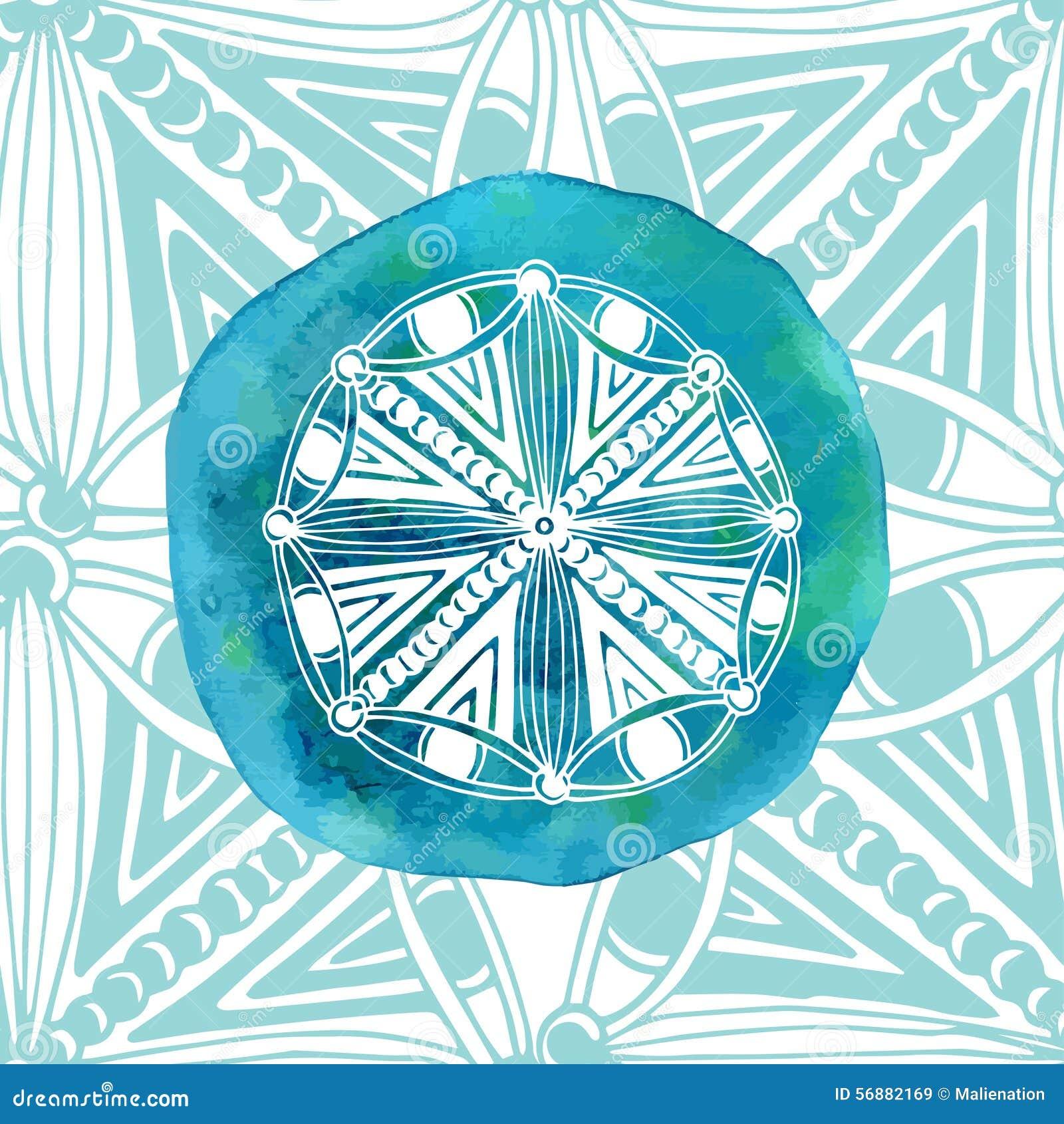 Mandala blu dell acquerello con fondo ornamentale Stile asiatico Logo o icona di vettore