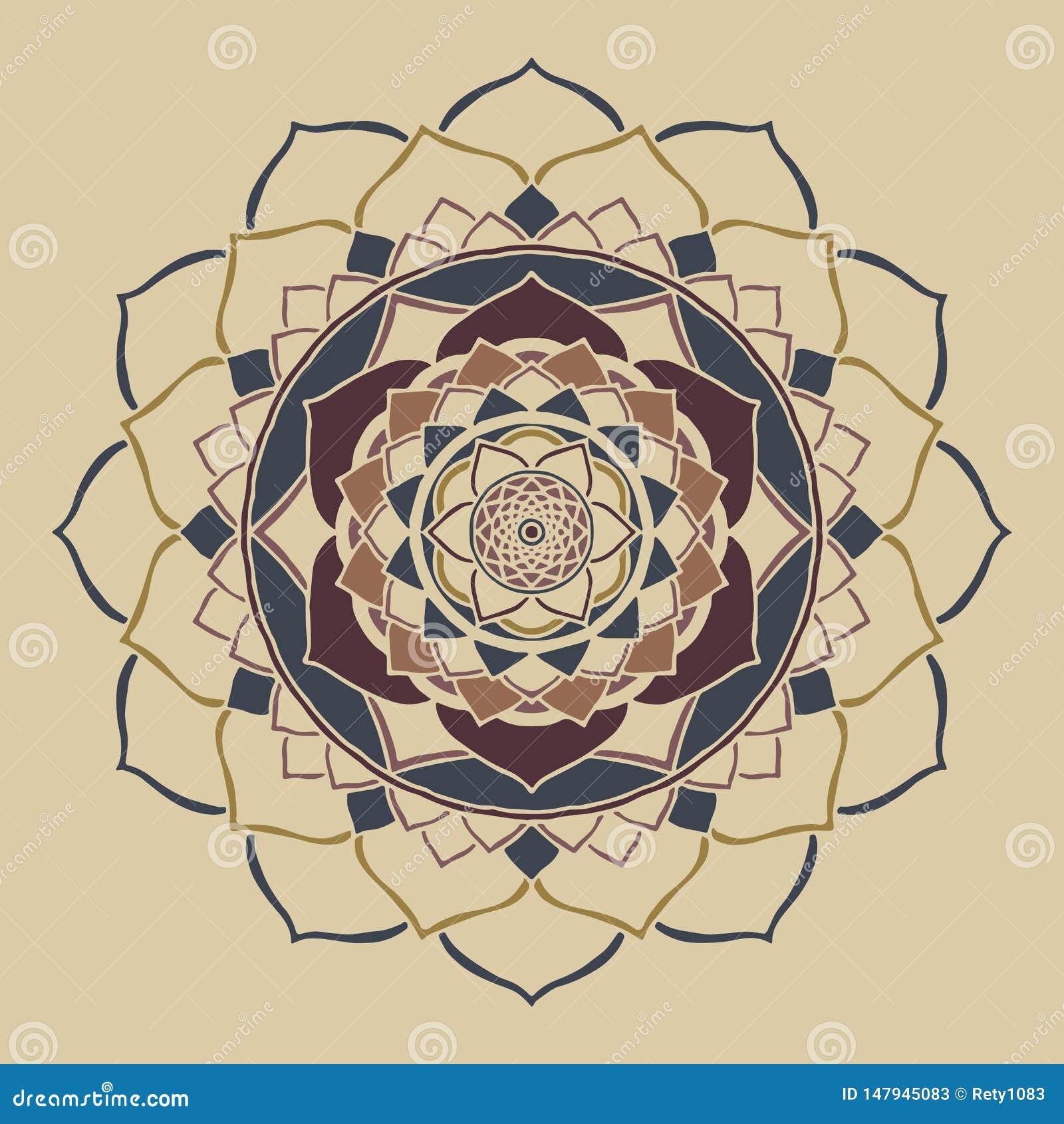 Mandala boho modny neutralny barwi Orientalnego ornament