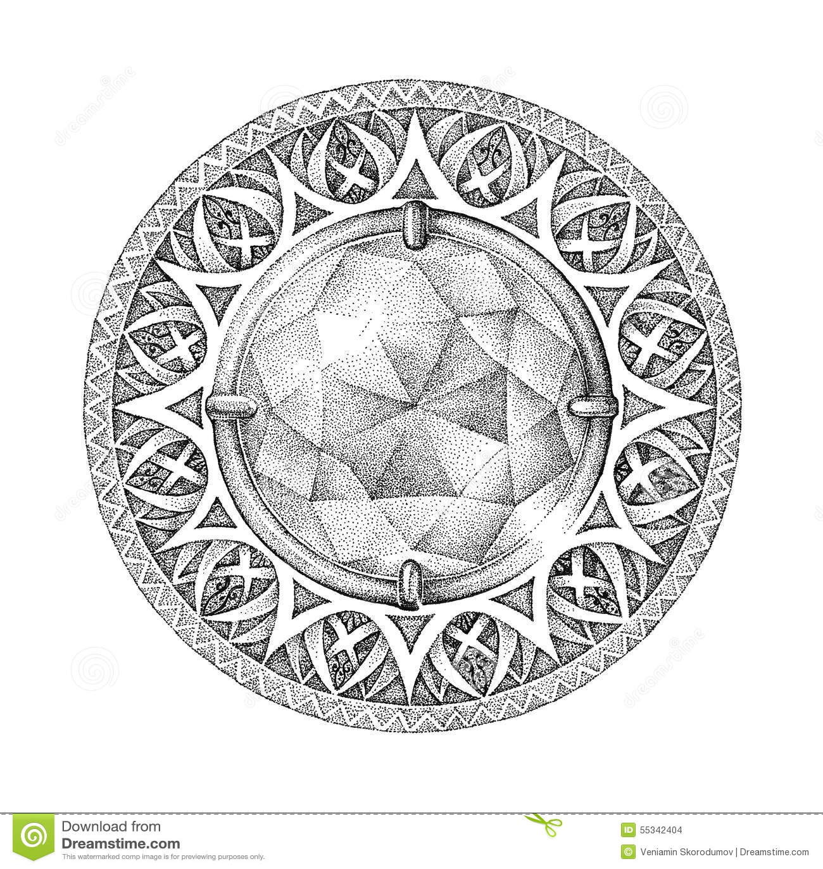 Mandala With A Brilliant Diamond Whith Patterns