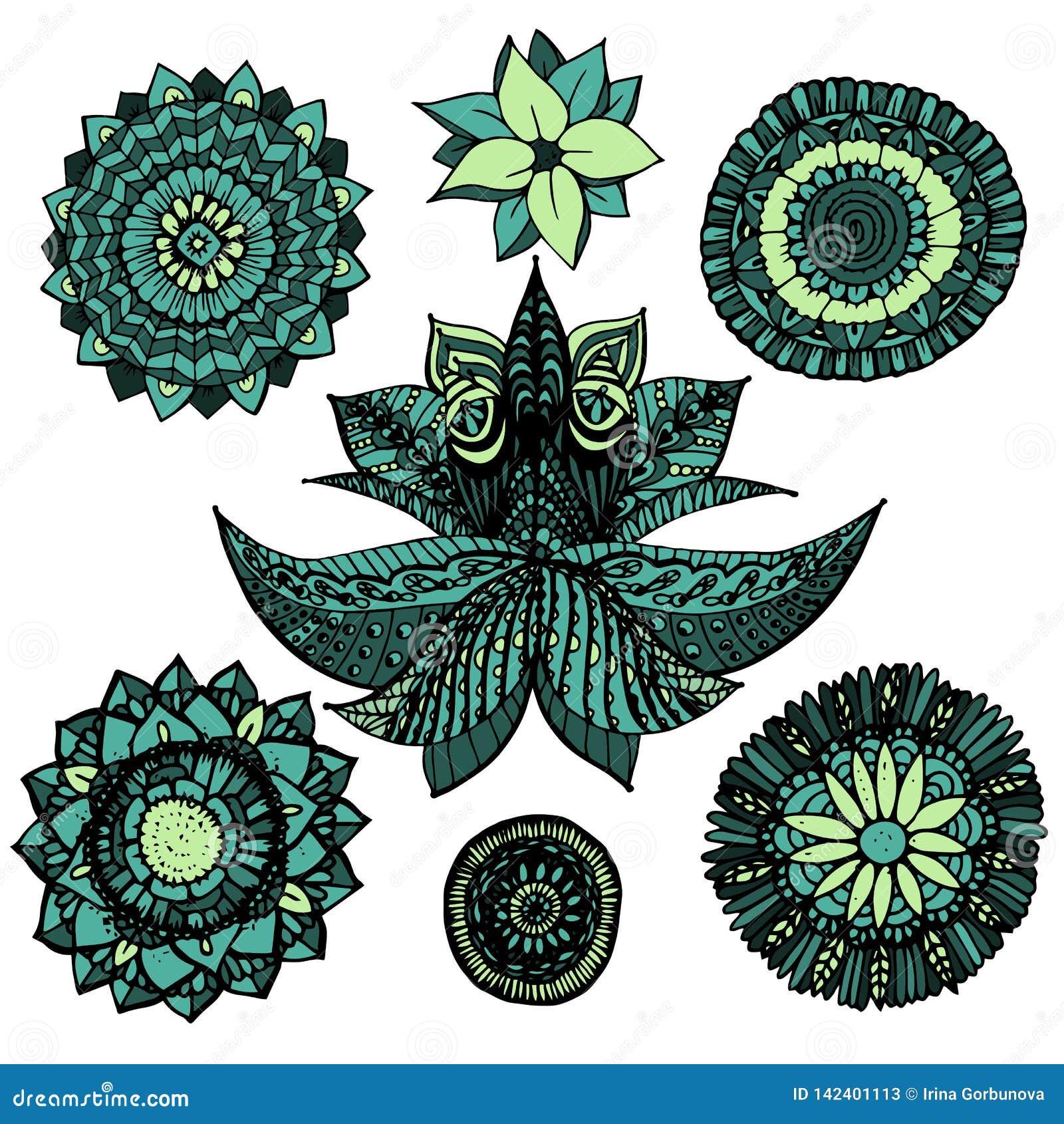 A mandala a céu aberto do zentangle da ilustração do vetor rabisca o grupo em cores azuis e verdes com as flores isoladas no fund