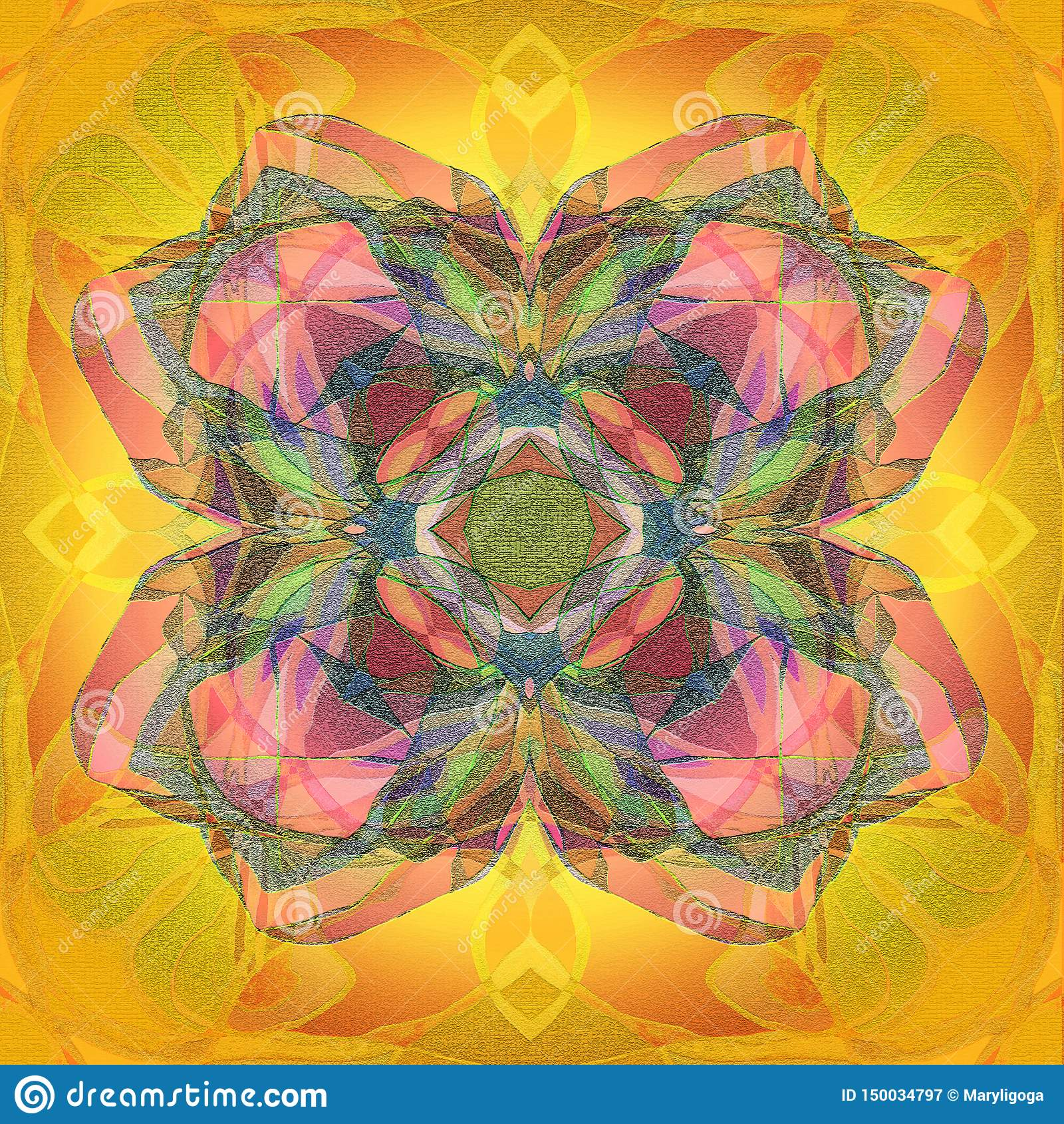 MANDALA CENTRAL CLOVER, TEXTURED IMAGE IN YELLOW, GOLD, PINK, BLUE