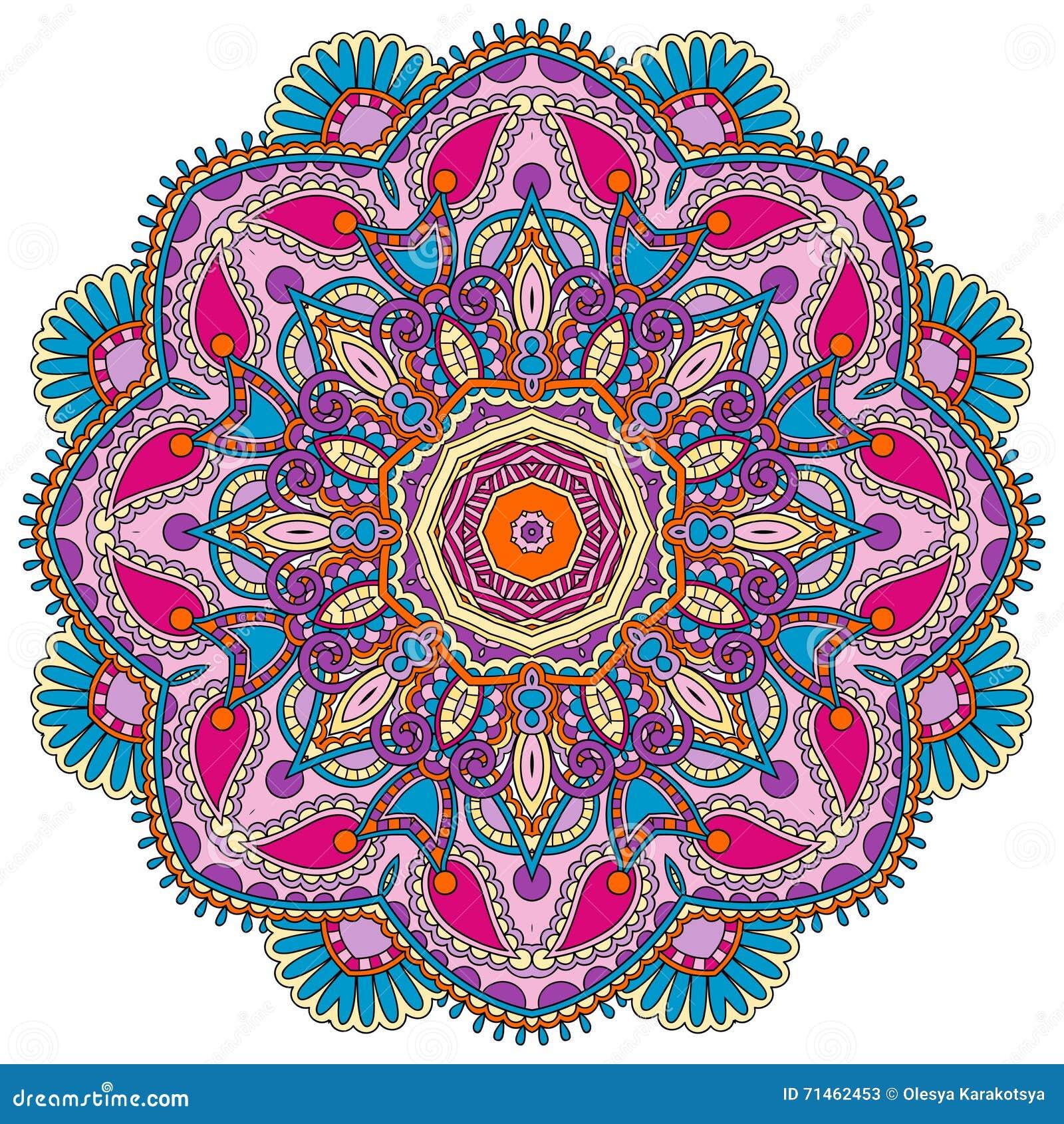 Hindu Mandala - Lotus Flower Pattern Cartoon Vector