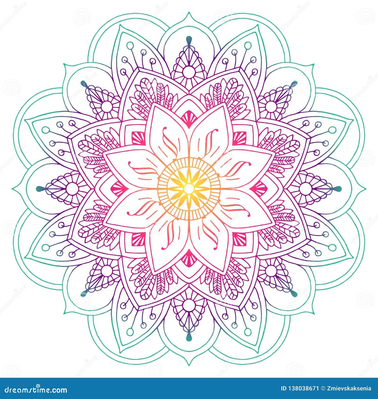 Mandala coloreada decorativa en melocotón y colores verdes