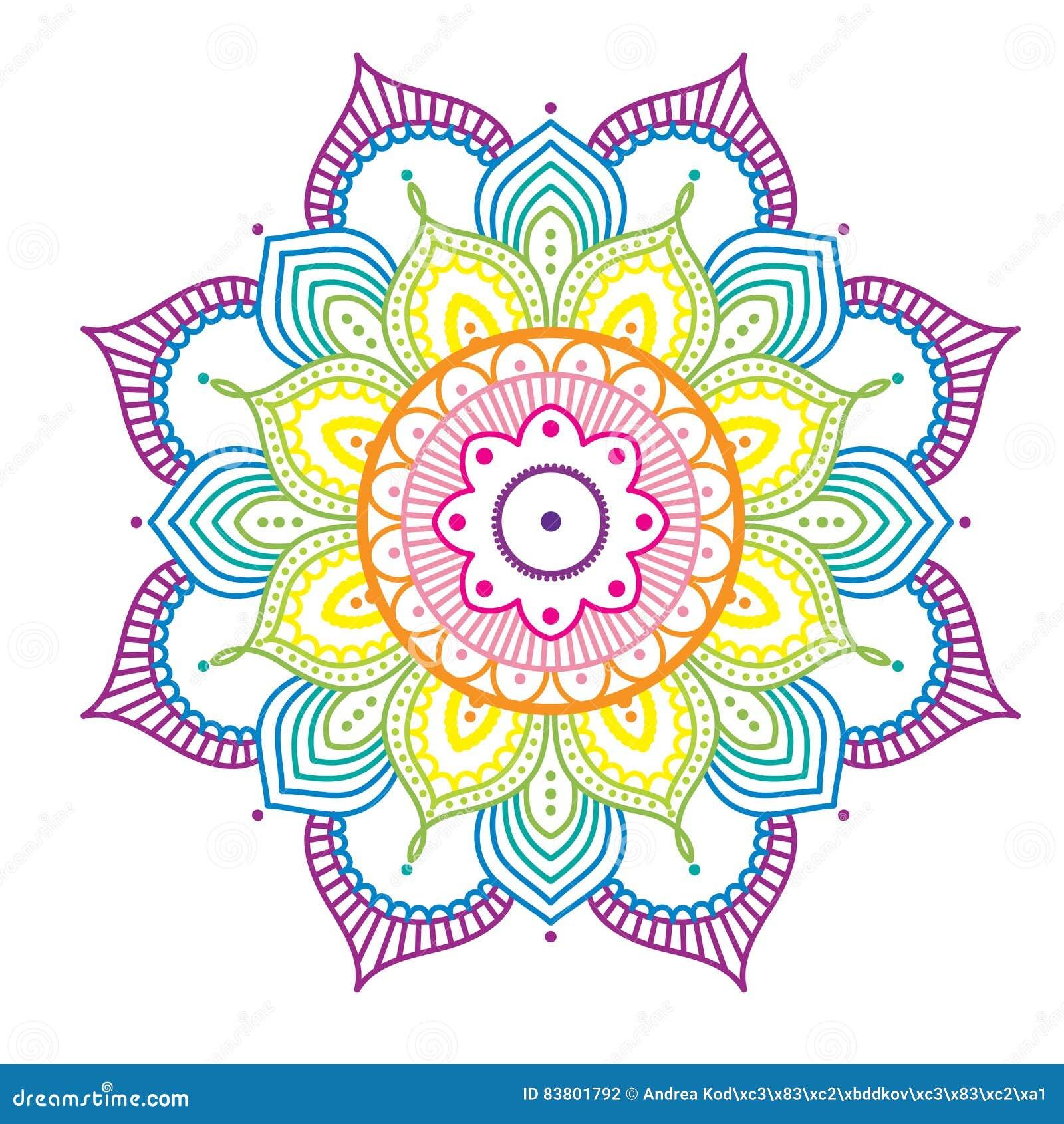 Mandala Colorida Do Arco Iris No Fundo Cor De Rosa Ilustracao