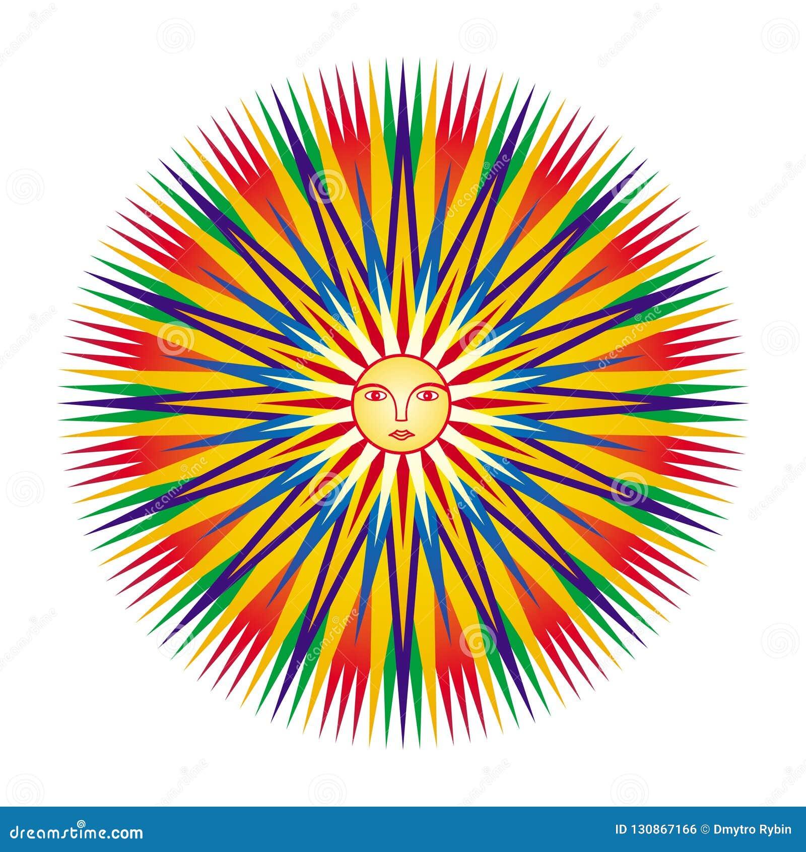 Mandala Colorida Geometrica Com A Cara De Um Homem No Centro