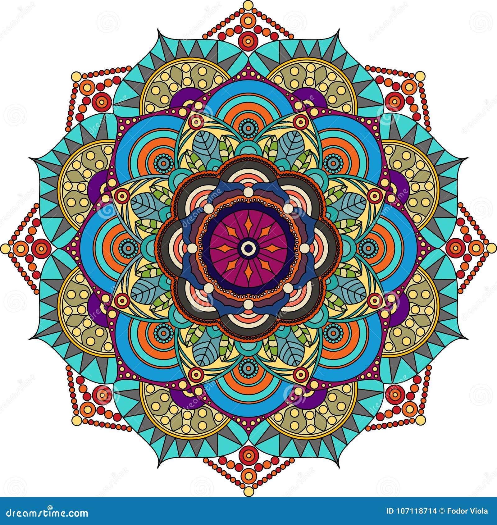 Mandala colorida, púrpura, verde, gris, colores oro
