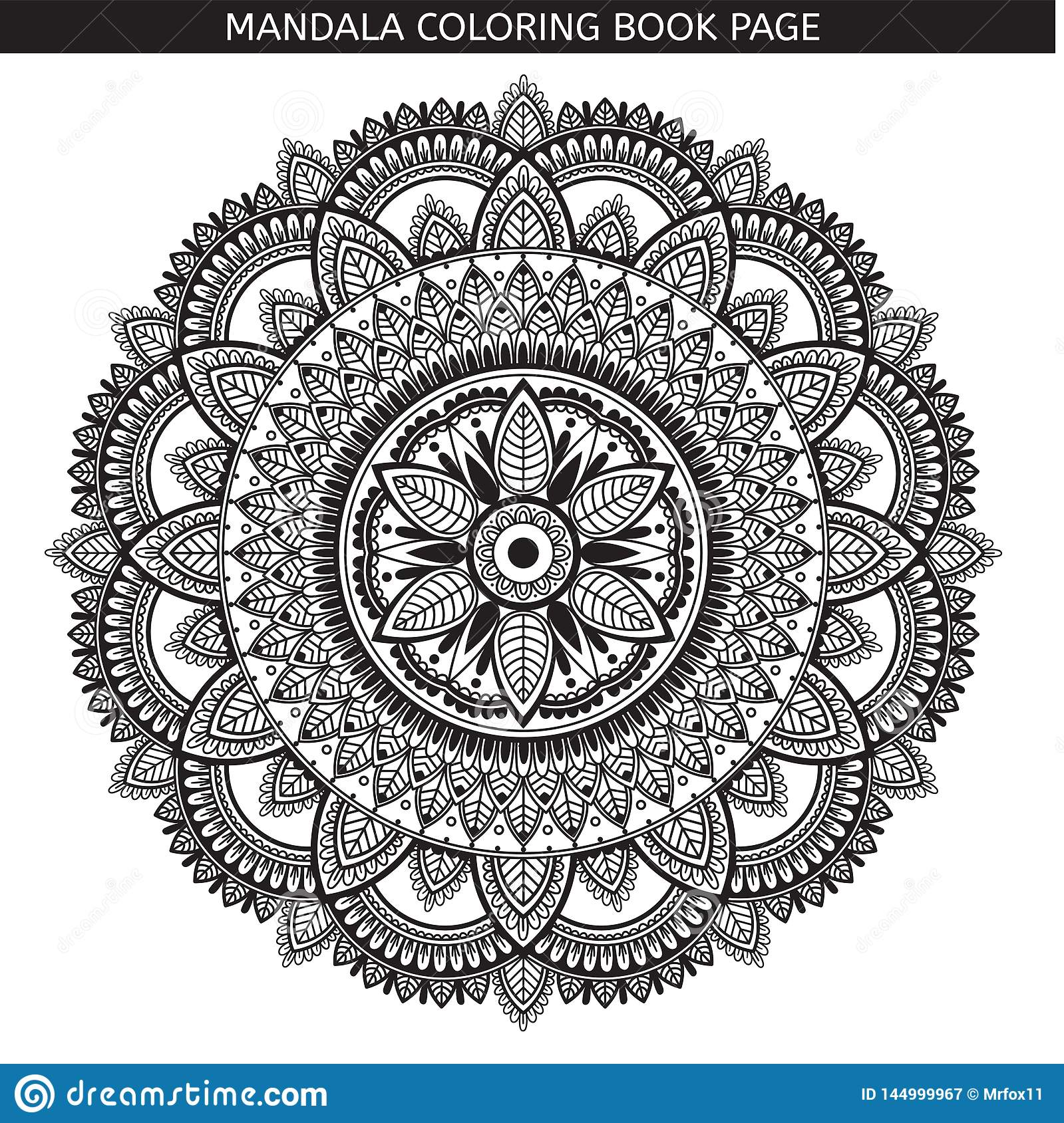 mandala coloring book page indian antistress medallion white background black outline pages vector illustration