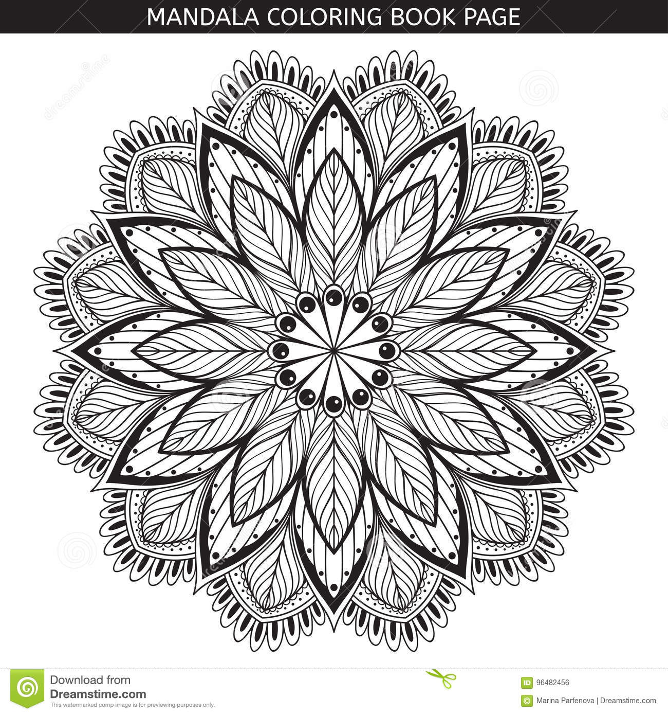 Download Mandala Coloring Book Pages Indian Antistress Medallion White Background Black Outline