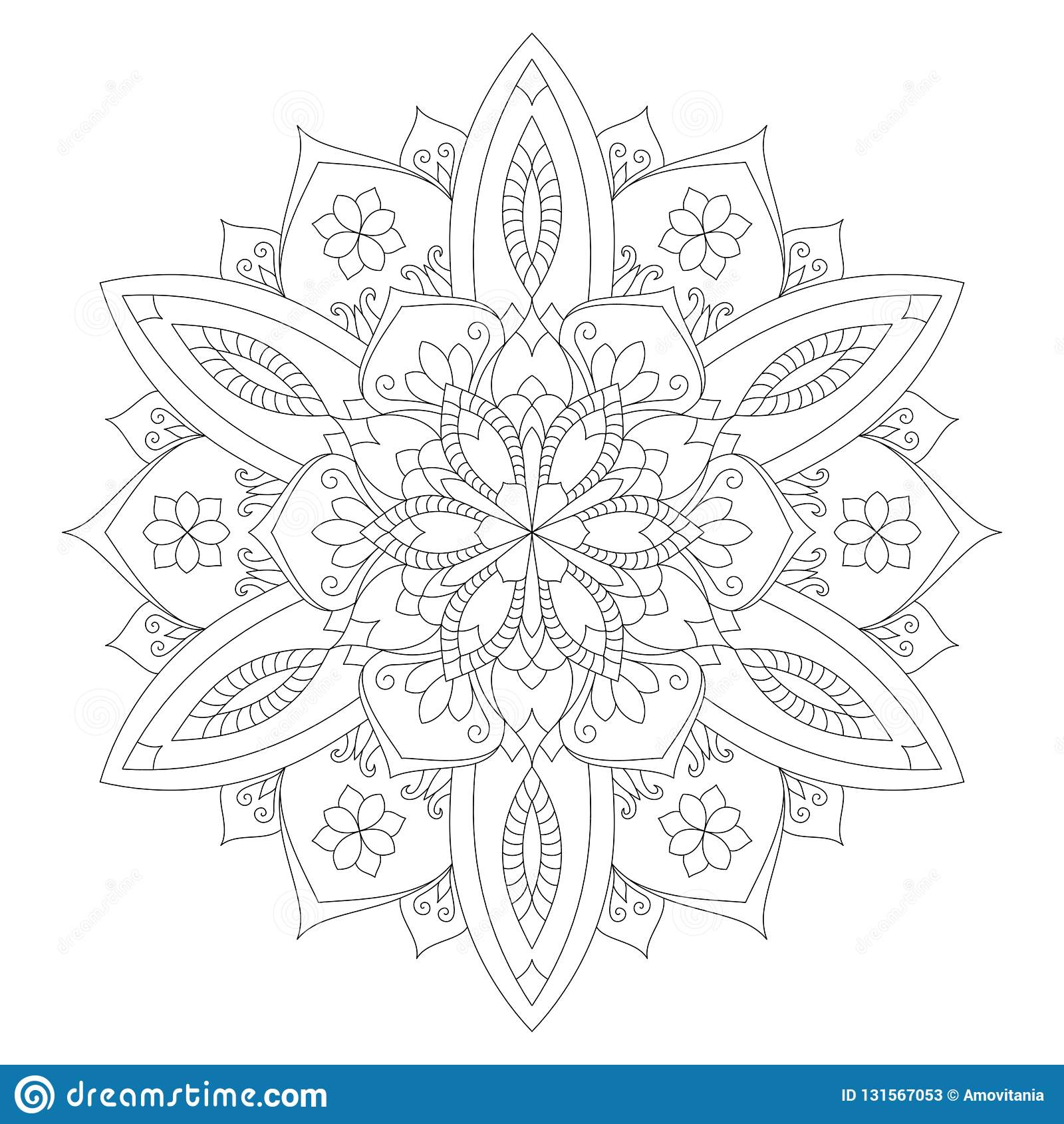 Mandala Coloring Page Flower Design Element For Adult