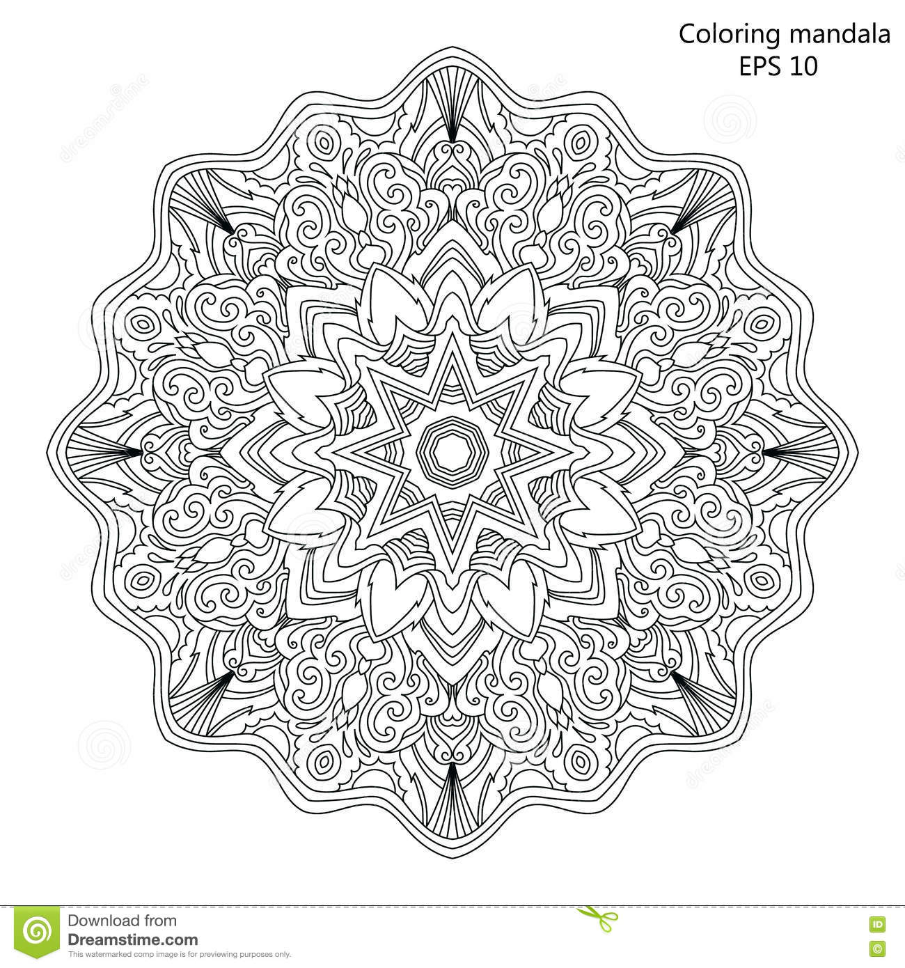 Mandala Coloring Page For Adult Vector Illustration Stock Vector