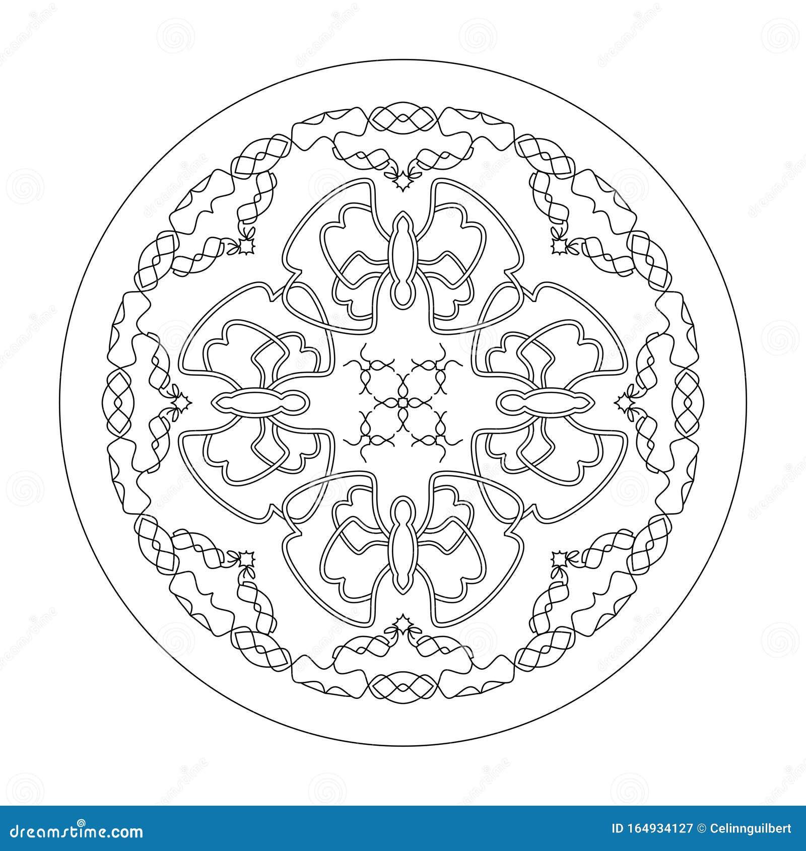 Mandala Coloring Page Butterflies Mandala Illustration Vector