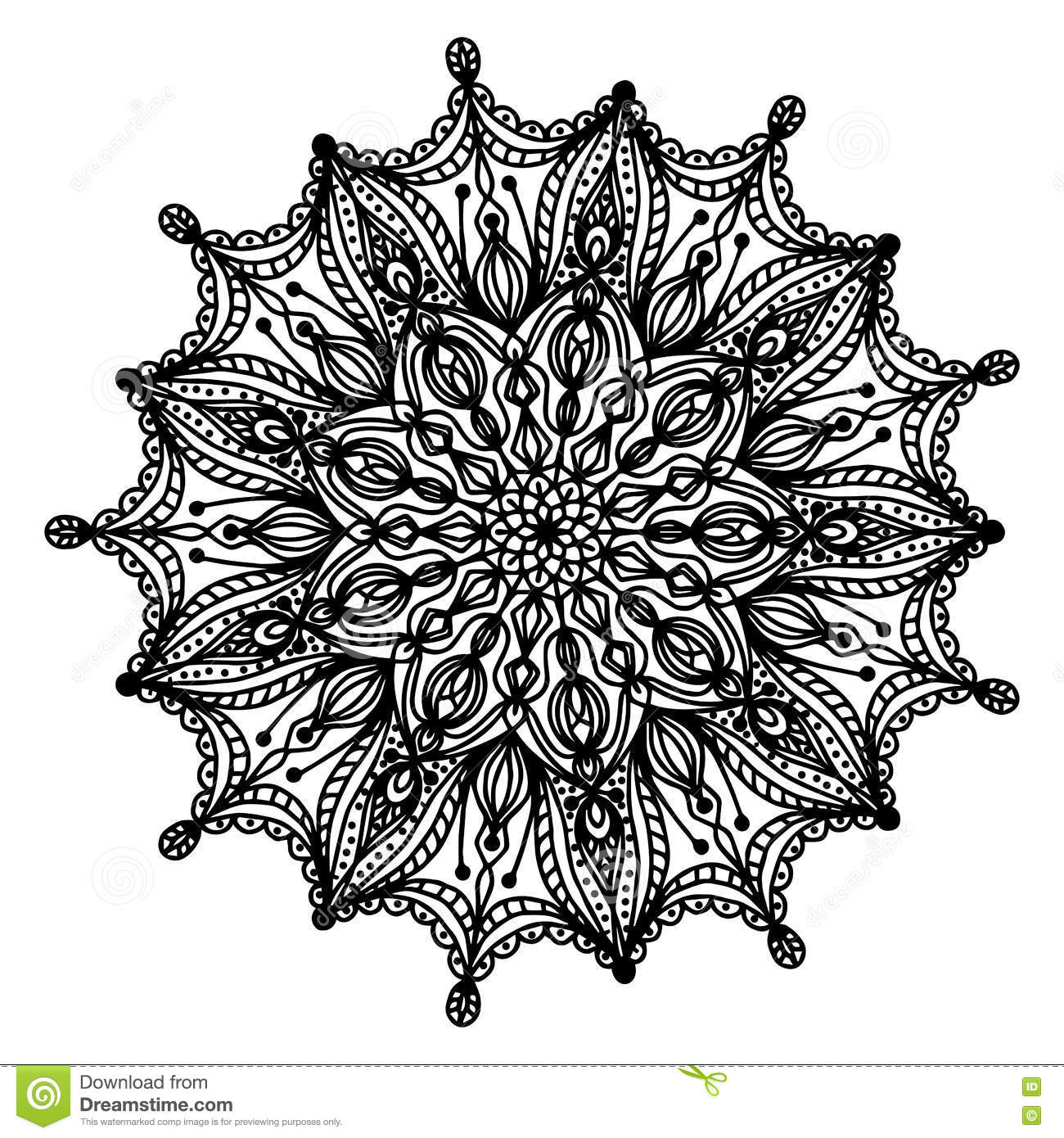 Mandala Coloring Page Doodle Stock Vector Illustration Of White