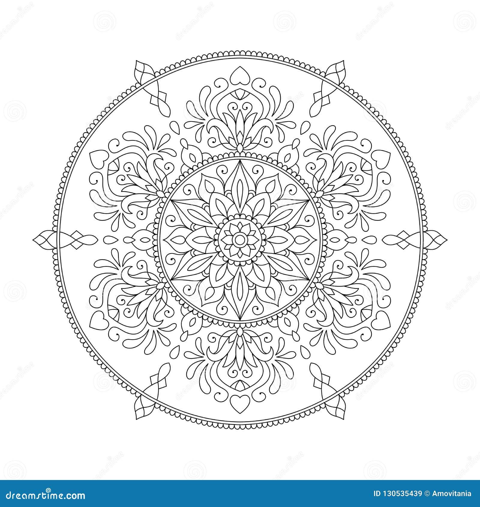 Mandala Coloring Page Flower Design Element For Adult Color ...