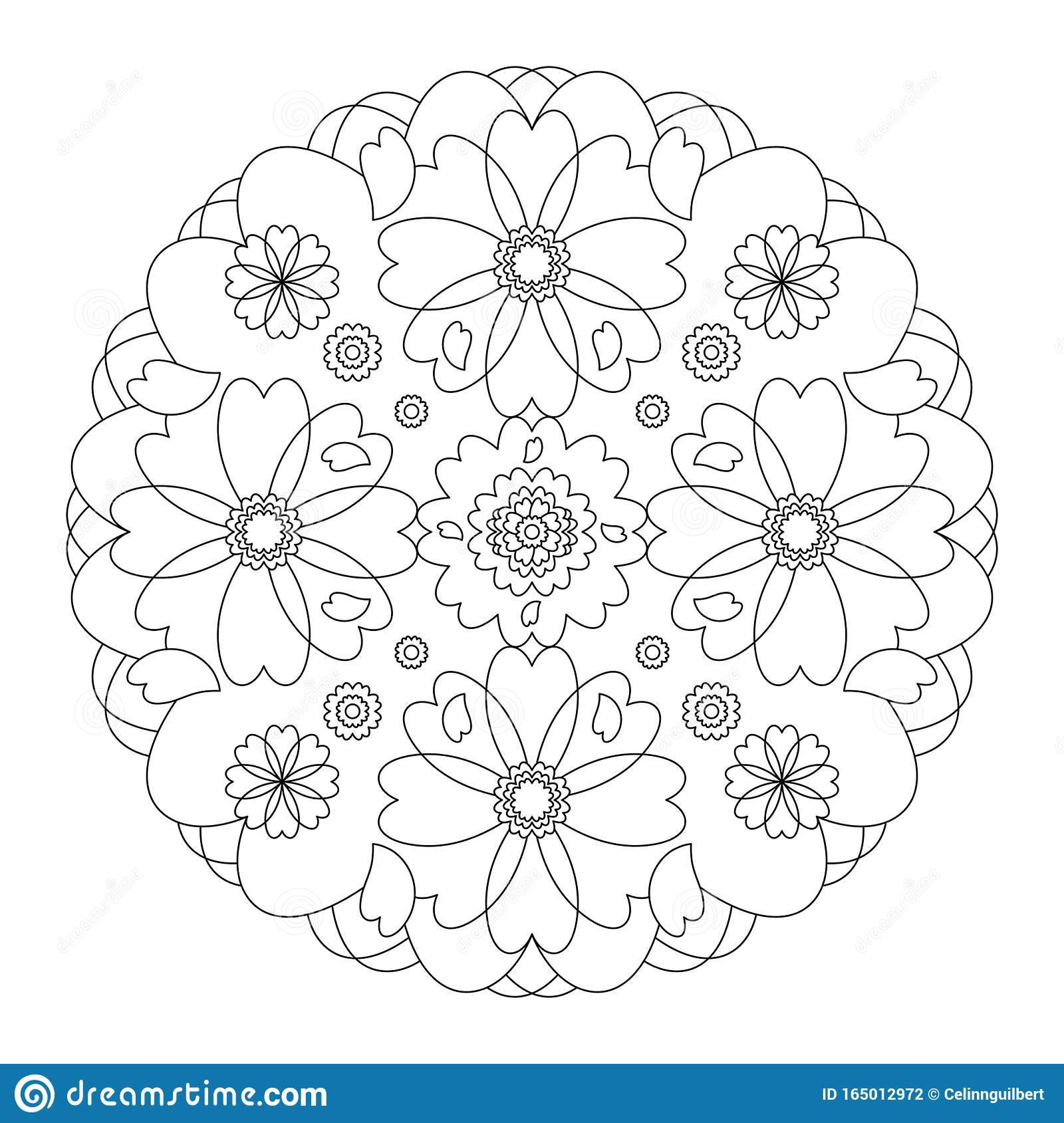 Mandala Coloring Page Hearts Mandala Coloring Page Illustration Vector Black And White Art Therapy Anti Stress Coloring Page Stock Vector Illustration Of Buddhism Element 165012972