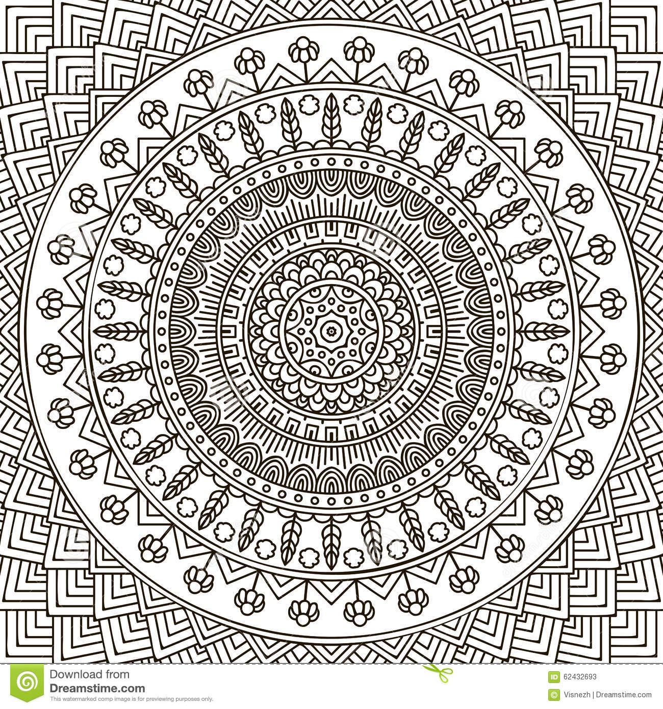 mandala coloring page ornament beautiful card geometric circle element made vector