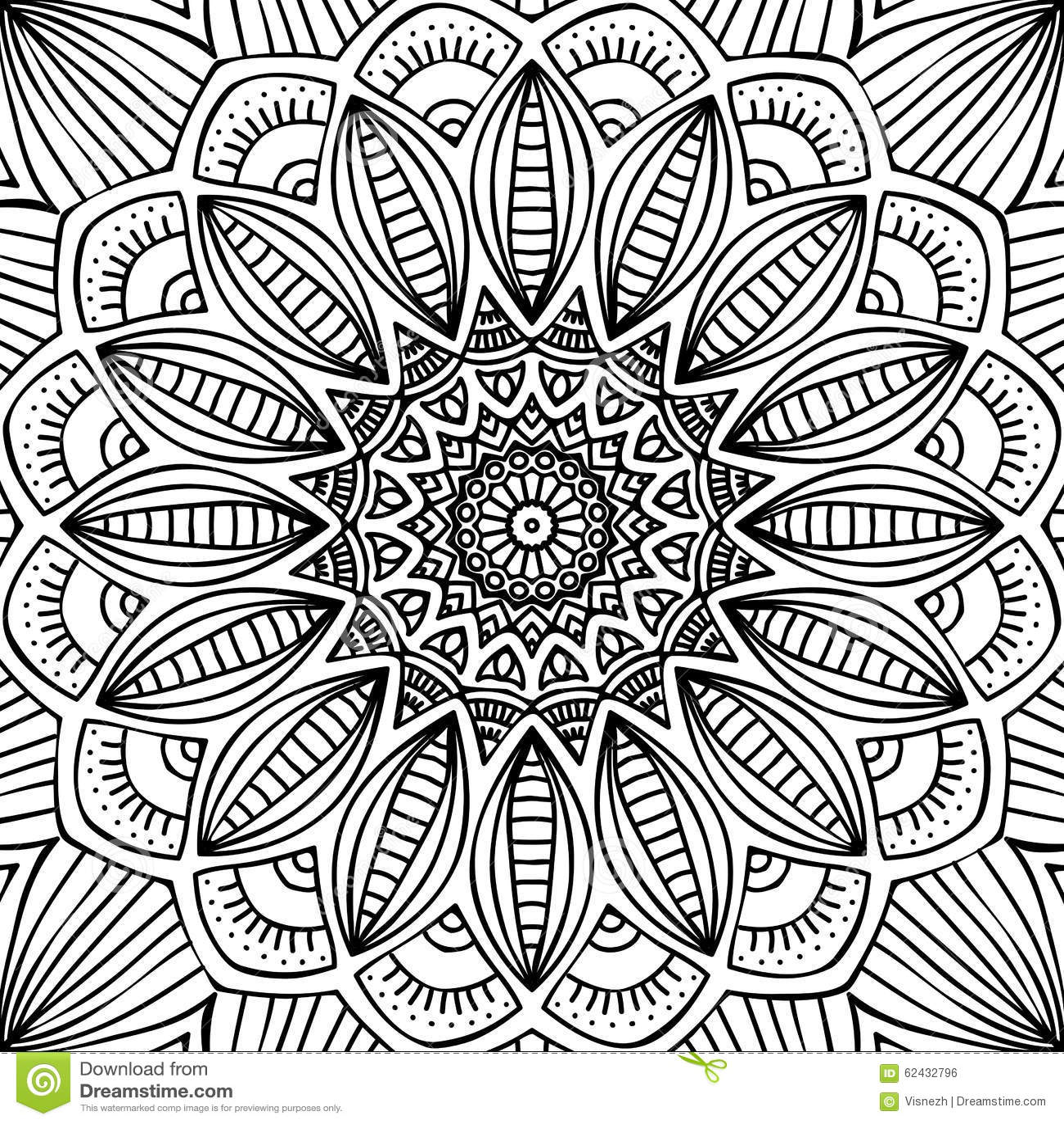 mandala coloring page stock vector image 62432796