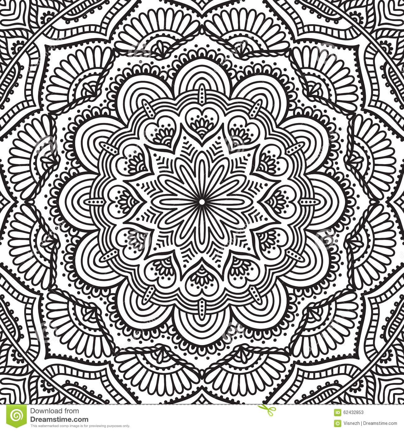 Mandala Coloring Page Stock Vector Illustration Of Islamic