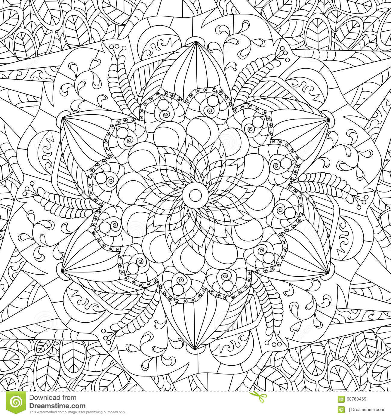 mandala coloring vector for adults stock vector image. Black Bedroom Furniture Sets. Home Design Ideas