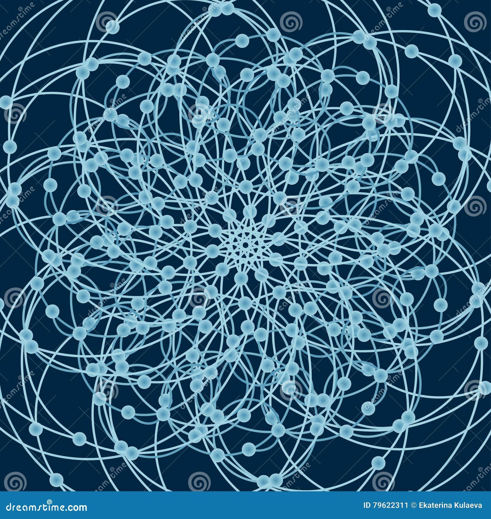 Mandala com símbolos sagrados e elementos da geometria