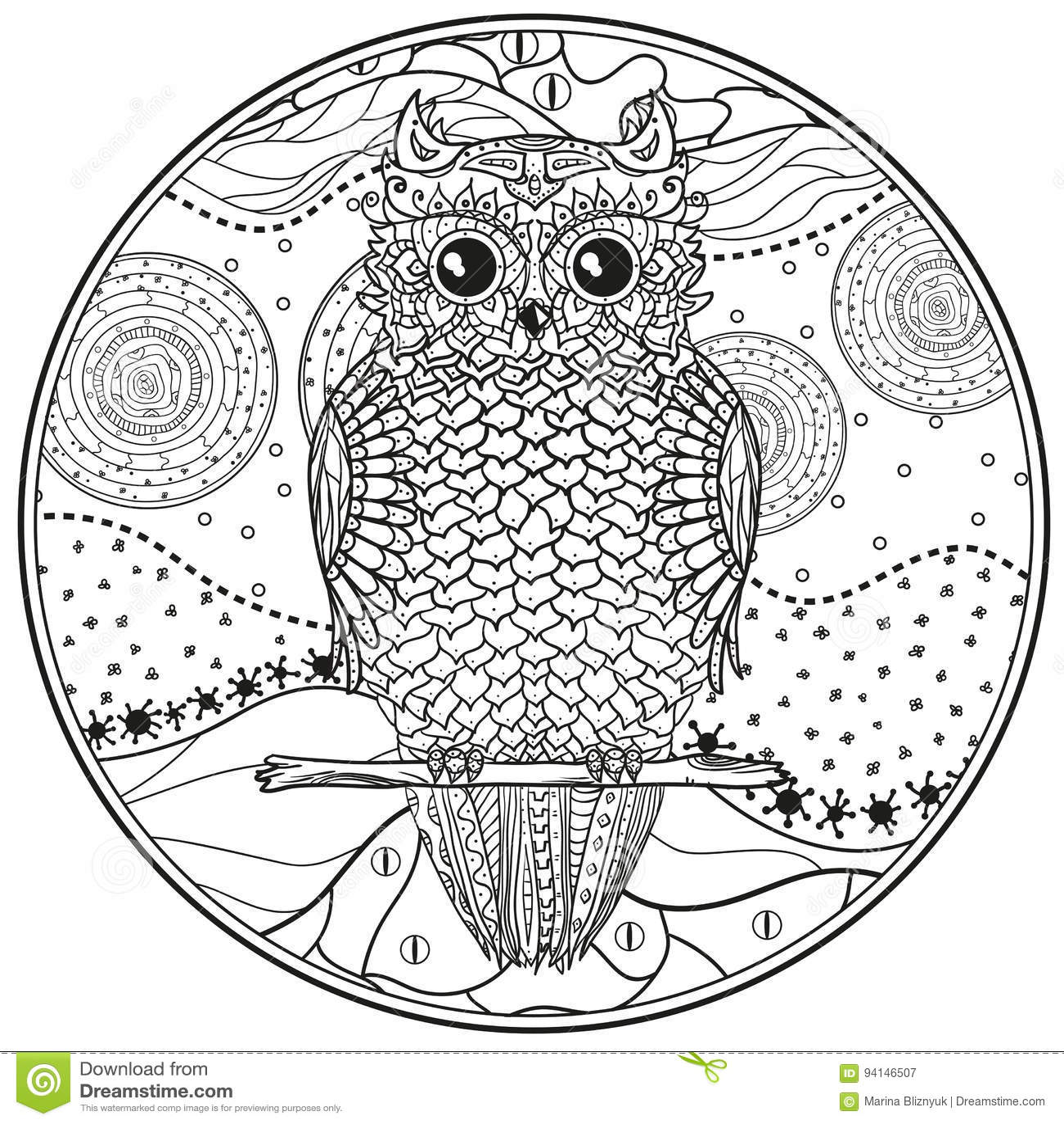 Mandala Con El Búho Zentangle Del Diseño Ilustración Del Vector