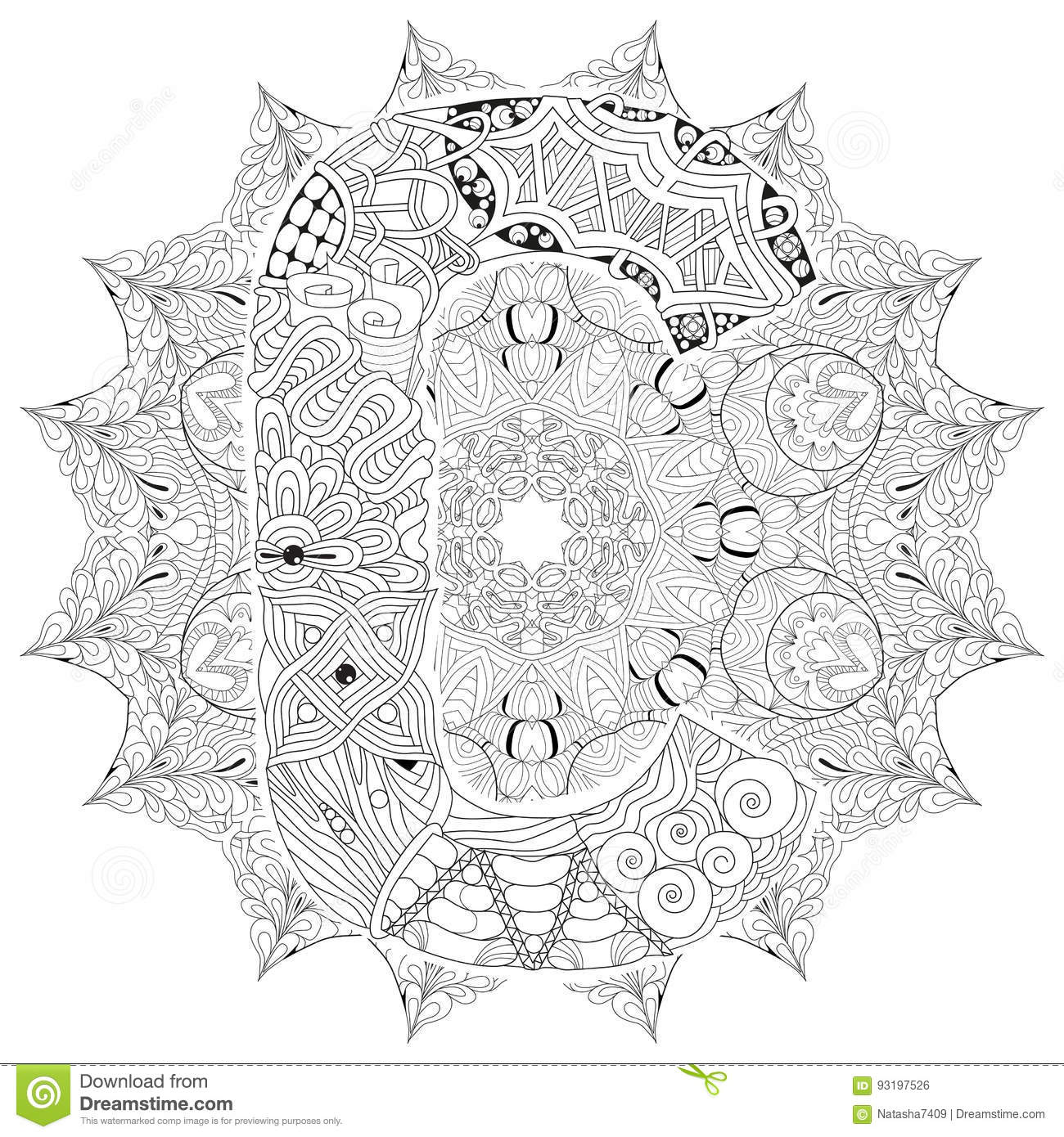 Mandala Con La Letra C Para Colorear Zentangle Decorativo Del Vector
