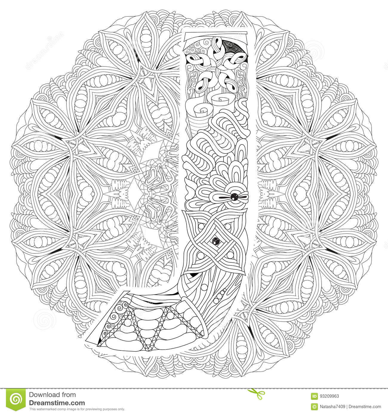 Mandala Con La Letra J Para Colorear Zentangle Decorativo Del Vector ...
