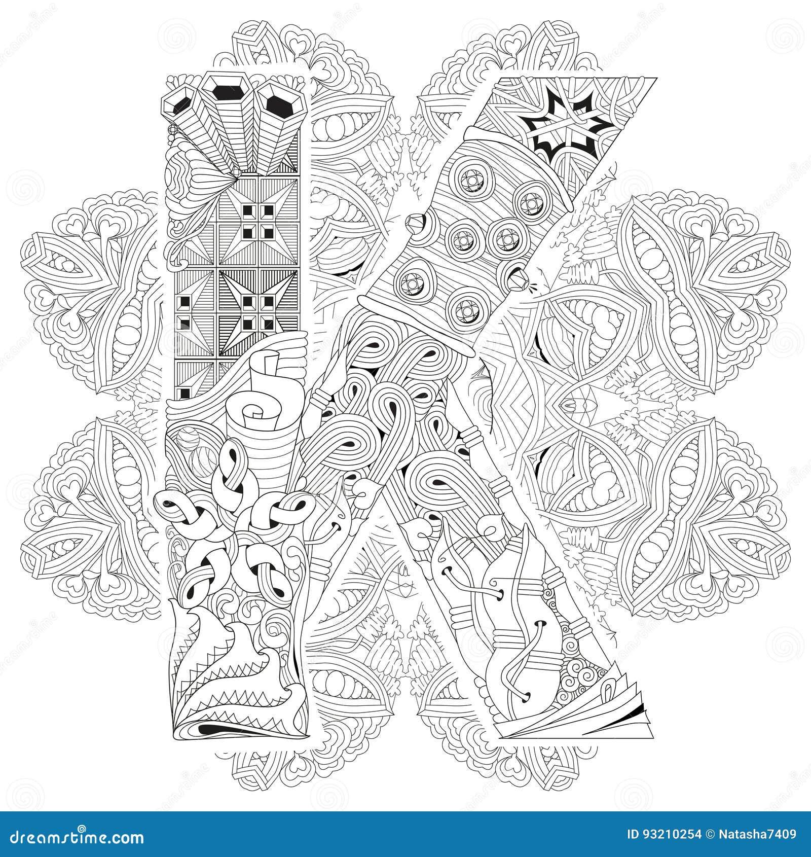 Mandala Con La Letra K Para Colorear Zentangle Decorativo Del Vector ...