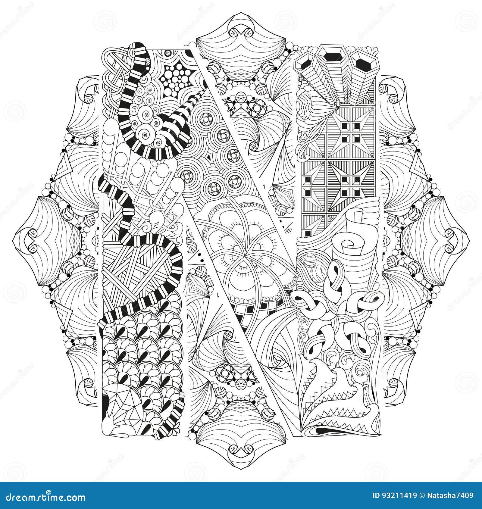 Mandala Con La Letra N Para Colorear Zentangle Decorativo Del Vector