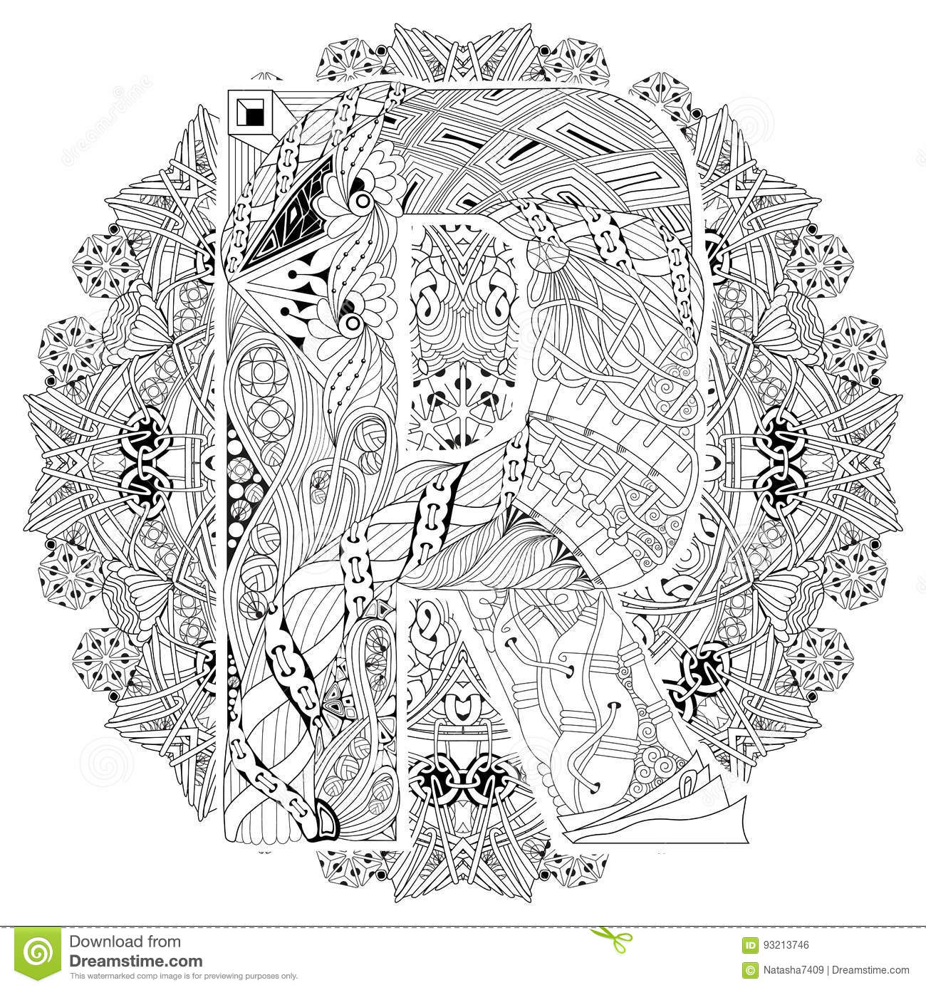 Mandala Con La Letra R Para Colorear Zentangle Decorativo Del Vector