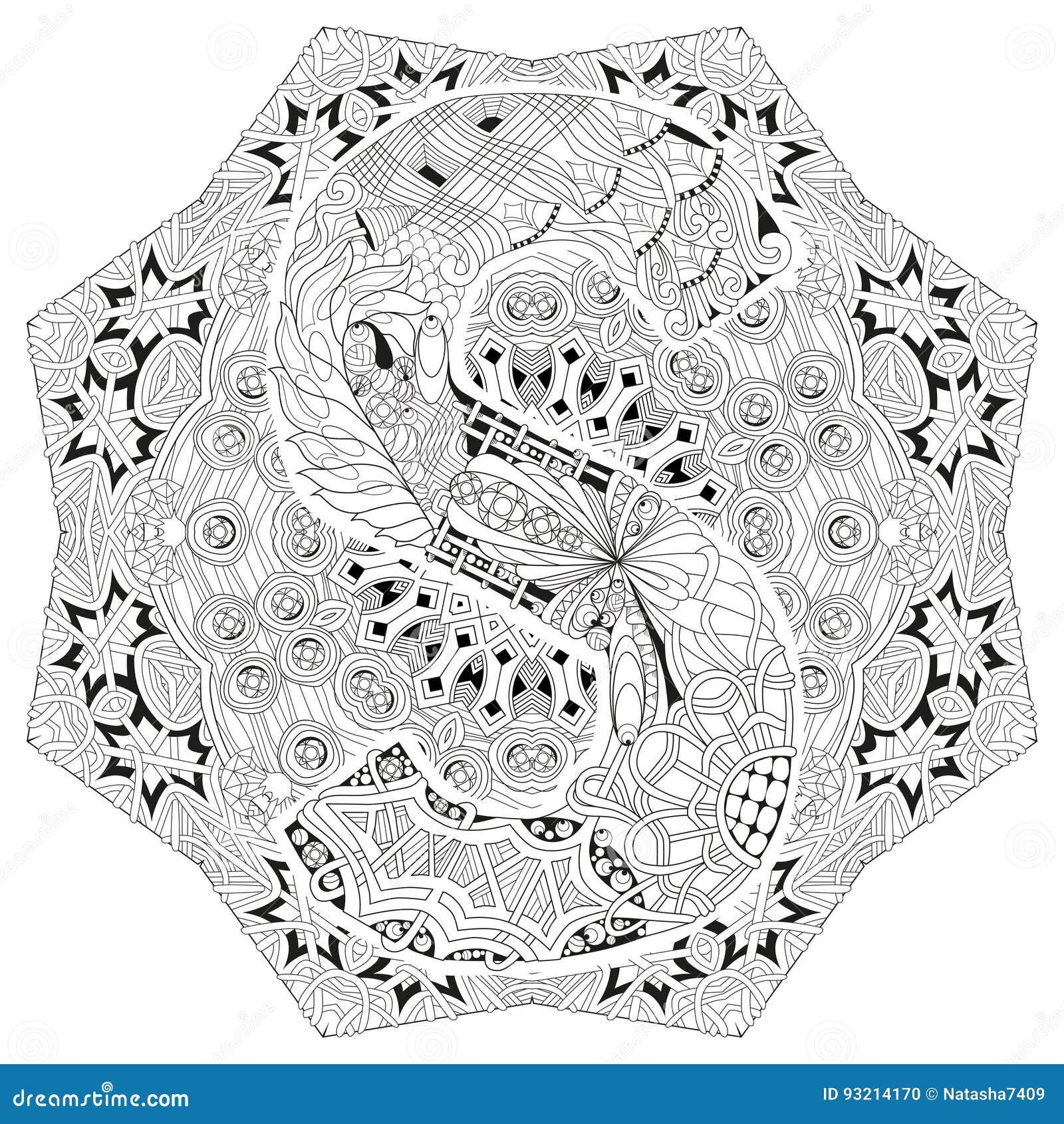 Mandala Con La Letra S Para Colorear Zentangle Decorativo Del Vector ...