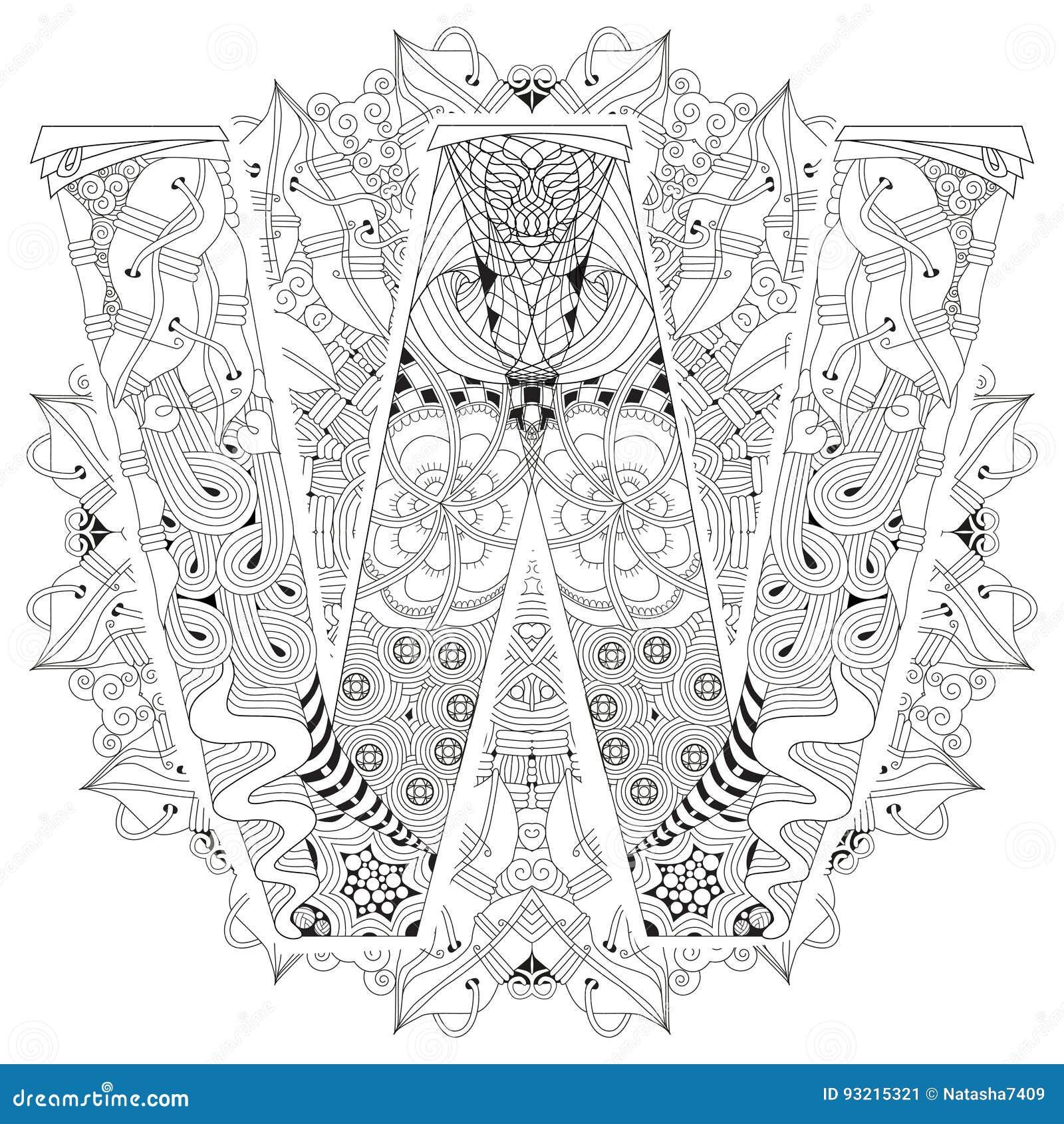 Mandala Con La Letra W Para Colorear Zentangle Decorativo Del Vector