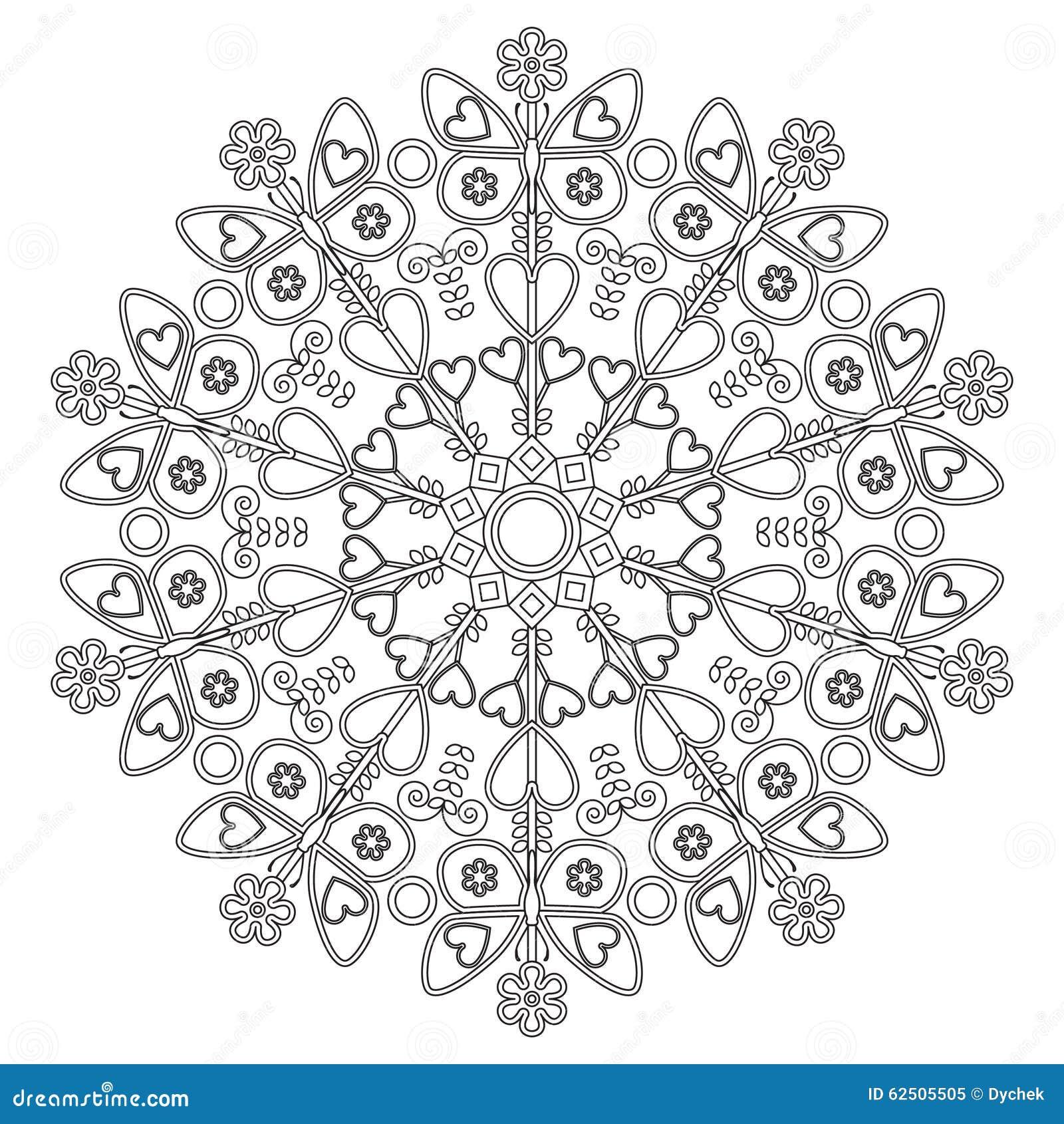 Mandala Con Le Farfalle Per I Bambini Illustrazione Di Stock