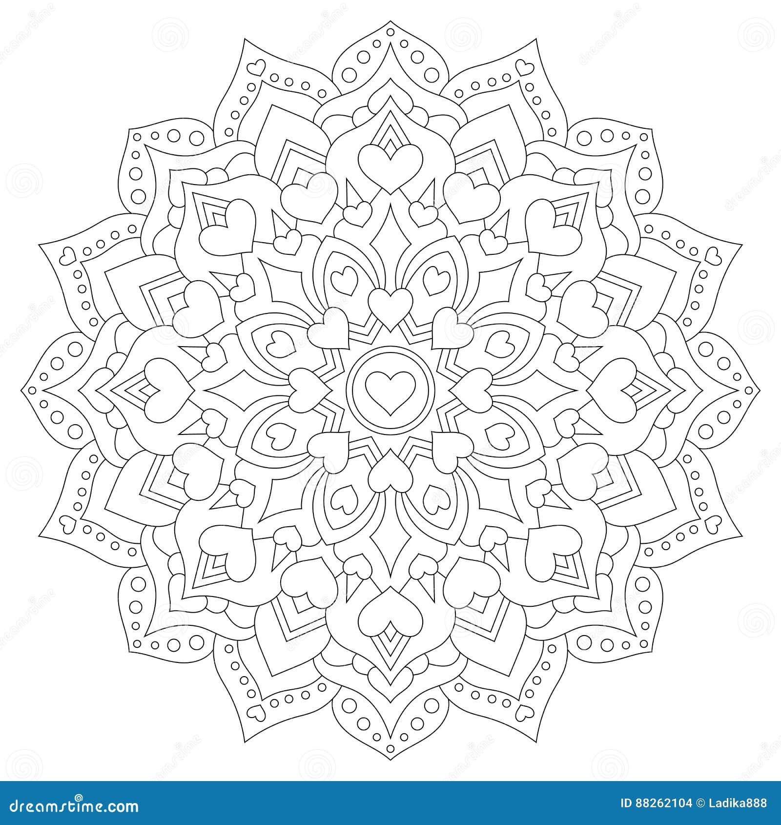Mandala Con Los Corazones Para Colorear Modelo Circular Ilustración ...