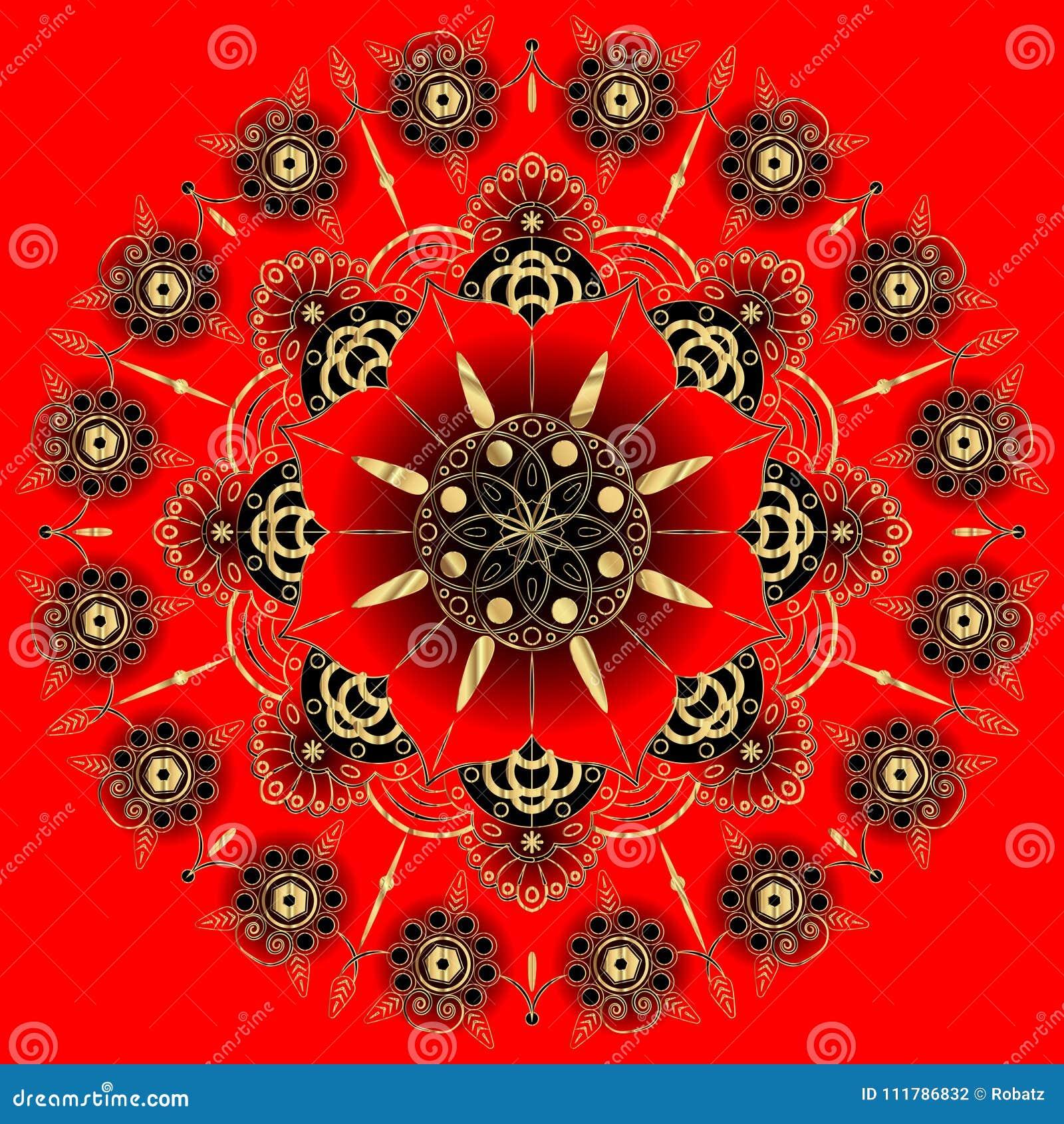 Mandala Dor De Fleur éléments Décoratifs De Cru Modèle Oriental