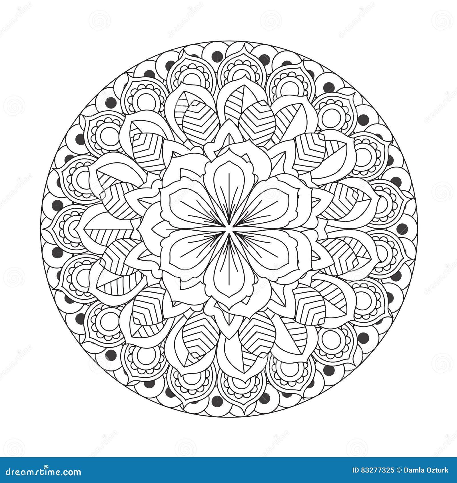 Coloriage Mandala Rond.Mandala D Ensemble Pour Livre De Coloriage Ornement Rond Decoratif