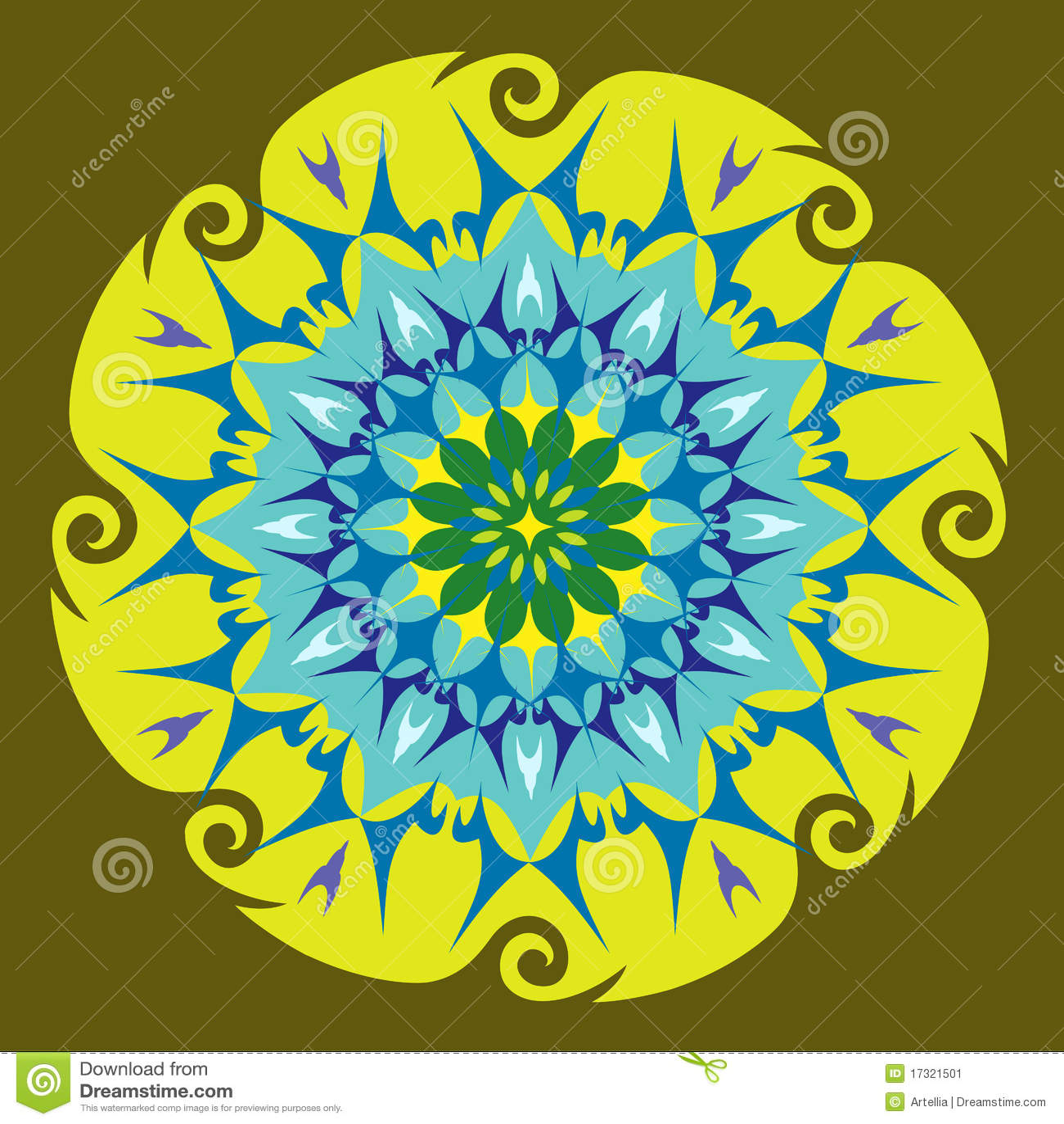 Mandala da energia em cores verdes