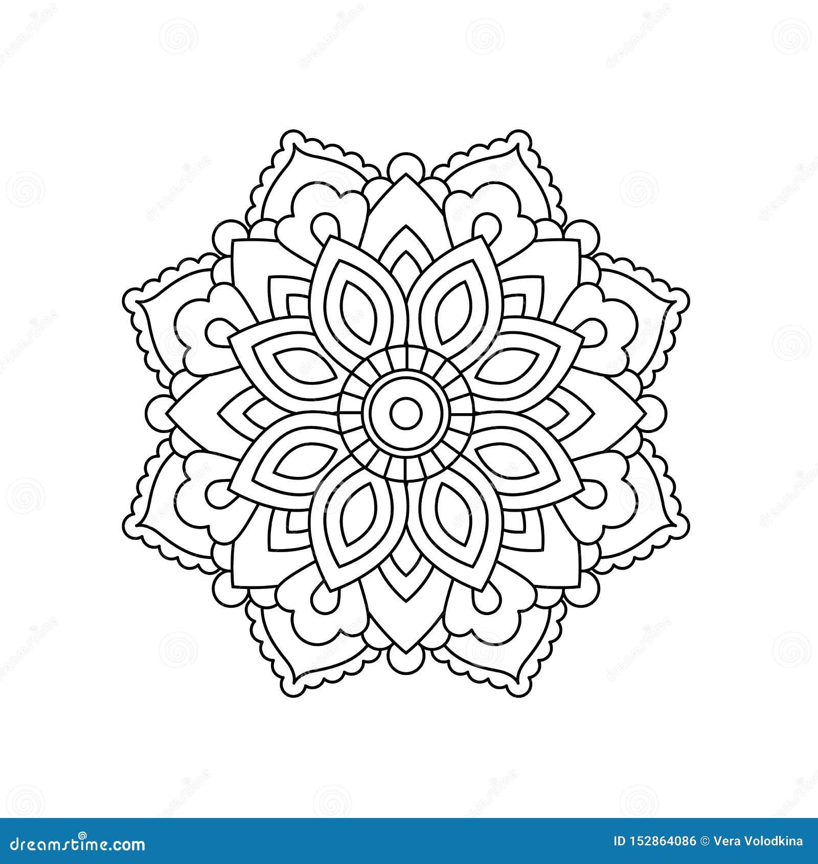 Mandala Dans Le Style Oriental Ethnique Fleur Decorative De Cru Pour Le Henne Substance De Yoga Mehendi Tatouage Page De Livr Illustration De Vecteur Illustration Du Mandala Fleur 152864086