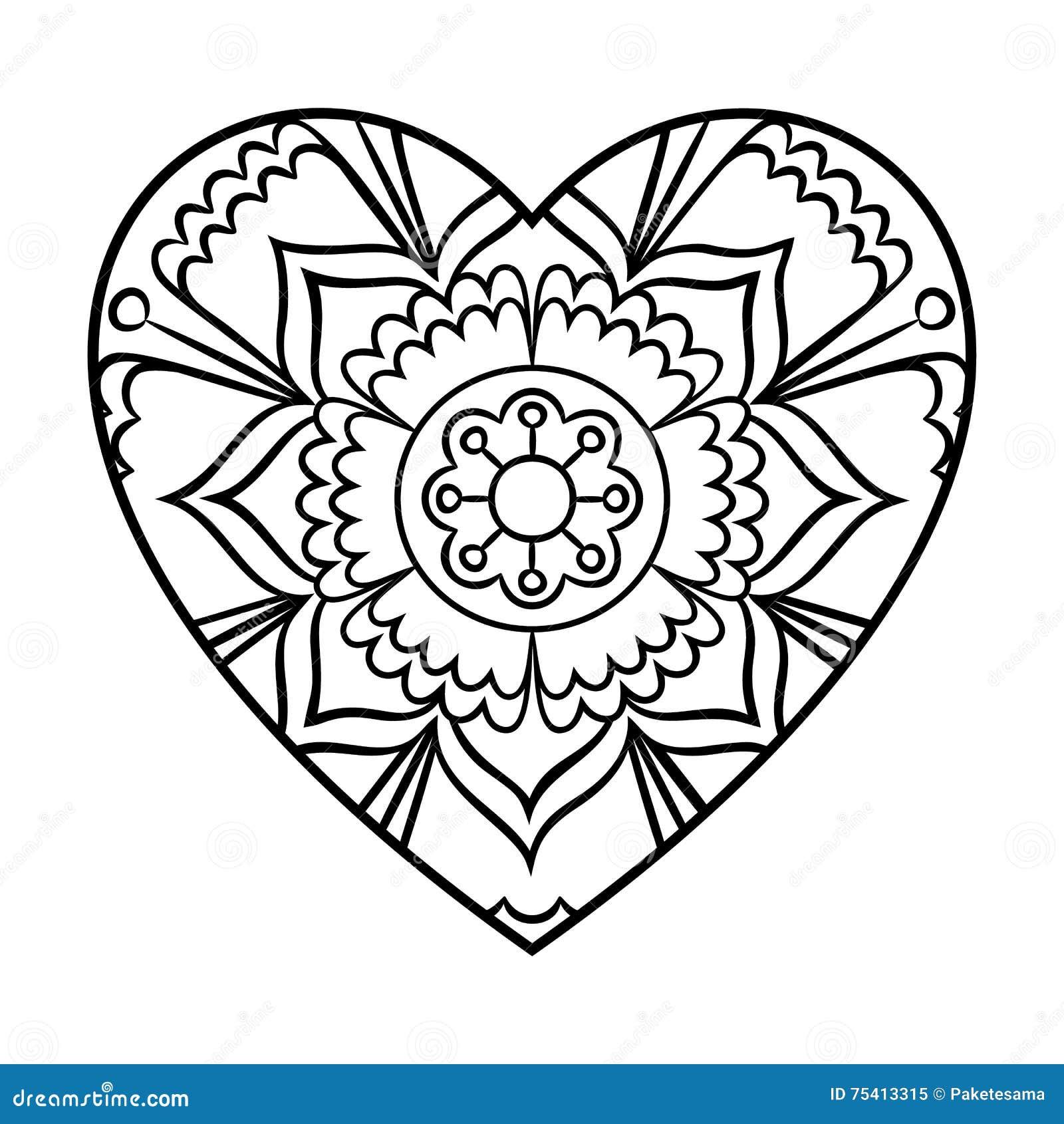 Mandala de coeur de griffonnage illustration de vecteur - Mandala amour ...