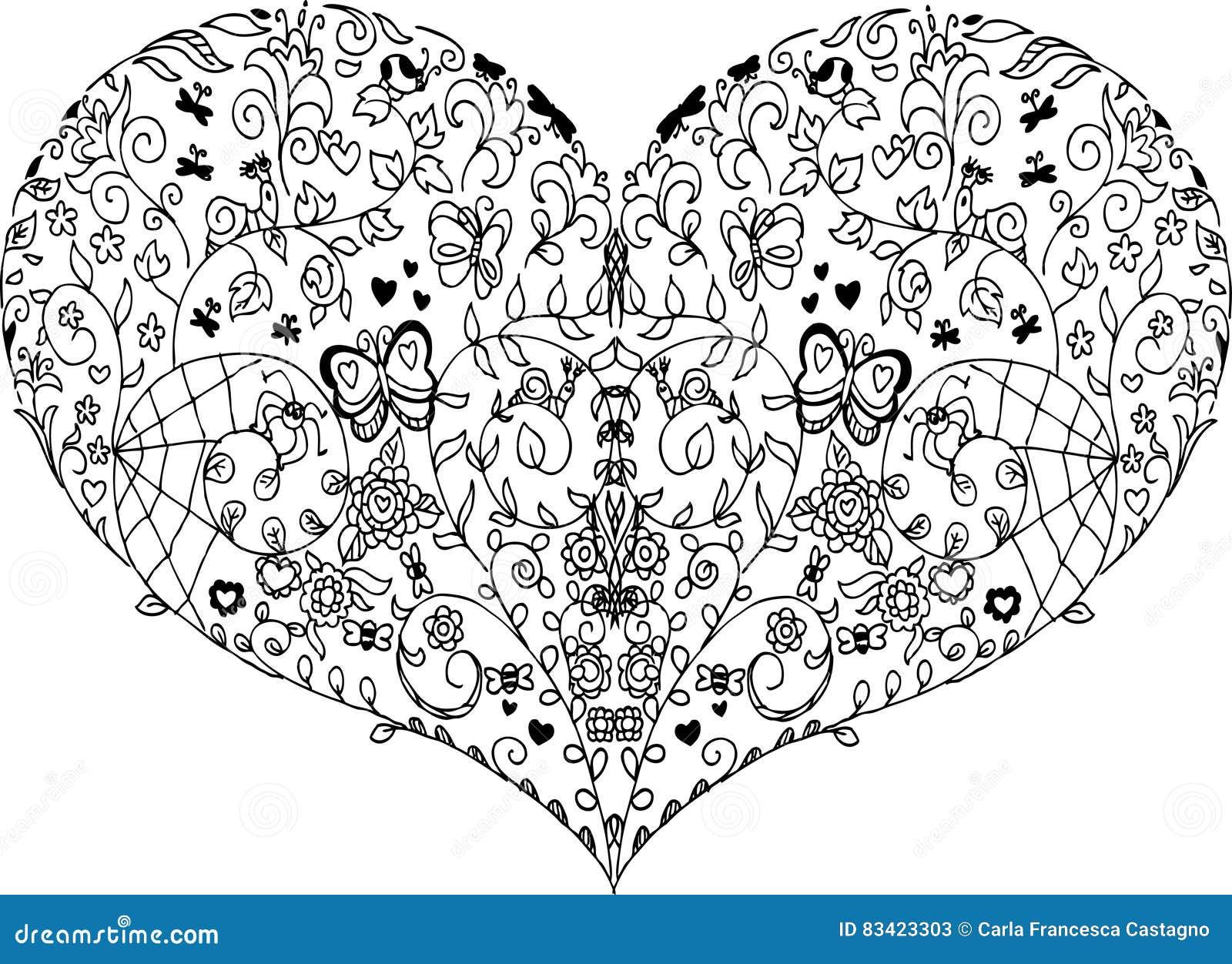 Mandala de coeur de ressort illustration de vecteur illustration du saison dessins 83423303 - Mandala de coeur ...