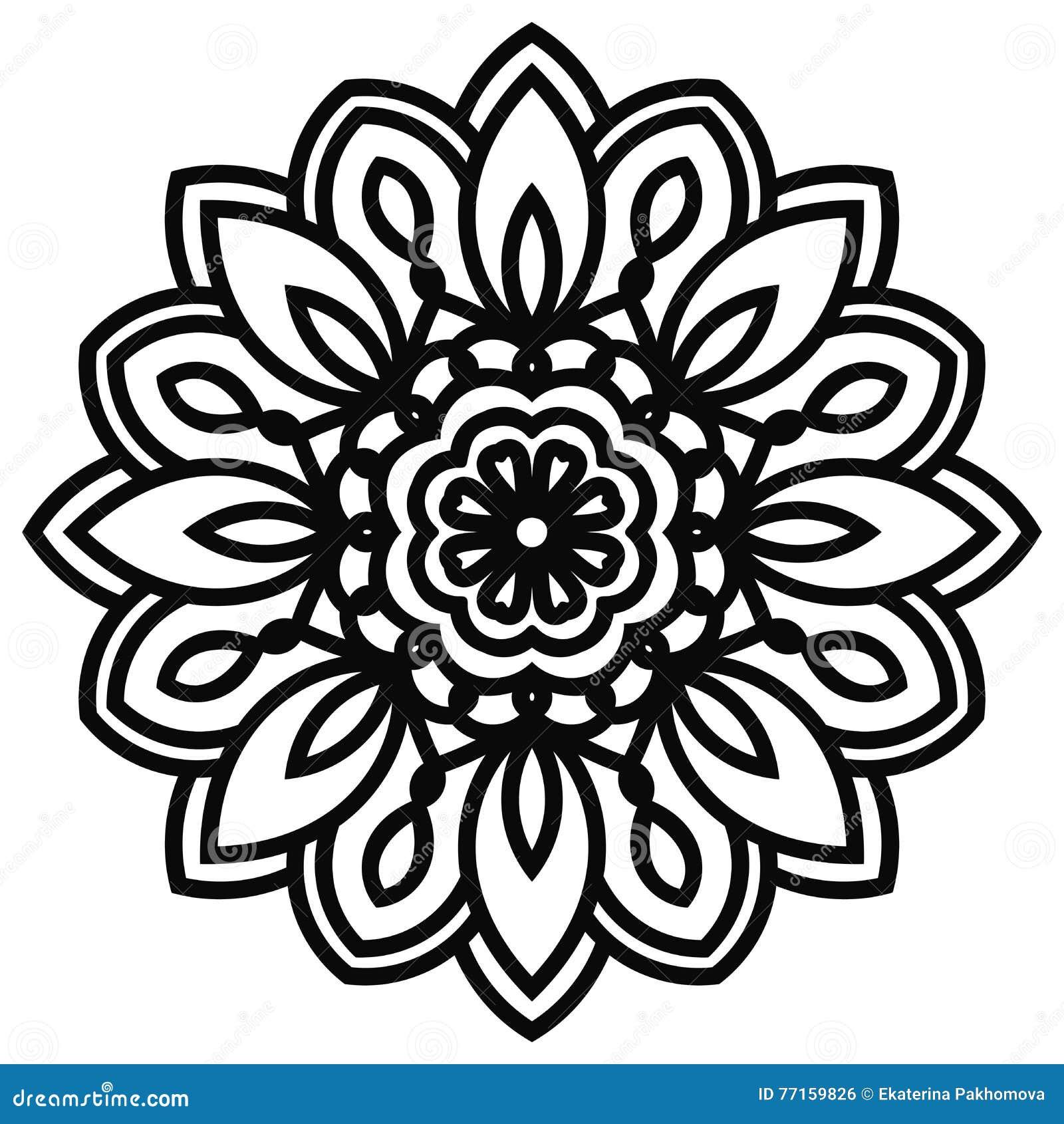 Mandala de dentelle dans le style de zentangle Vue supérieure de fleur noire d imagination