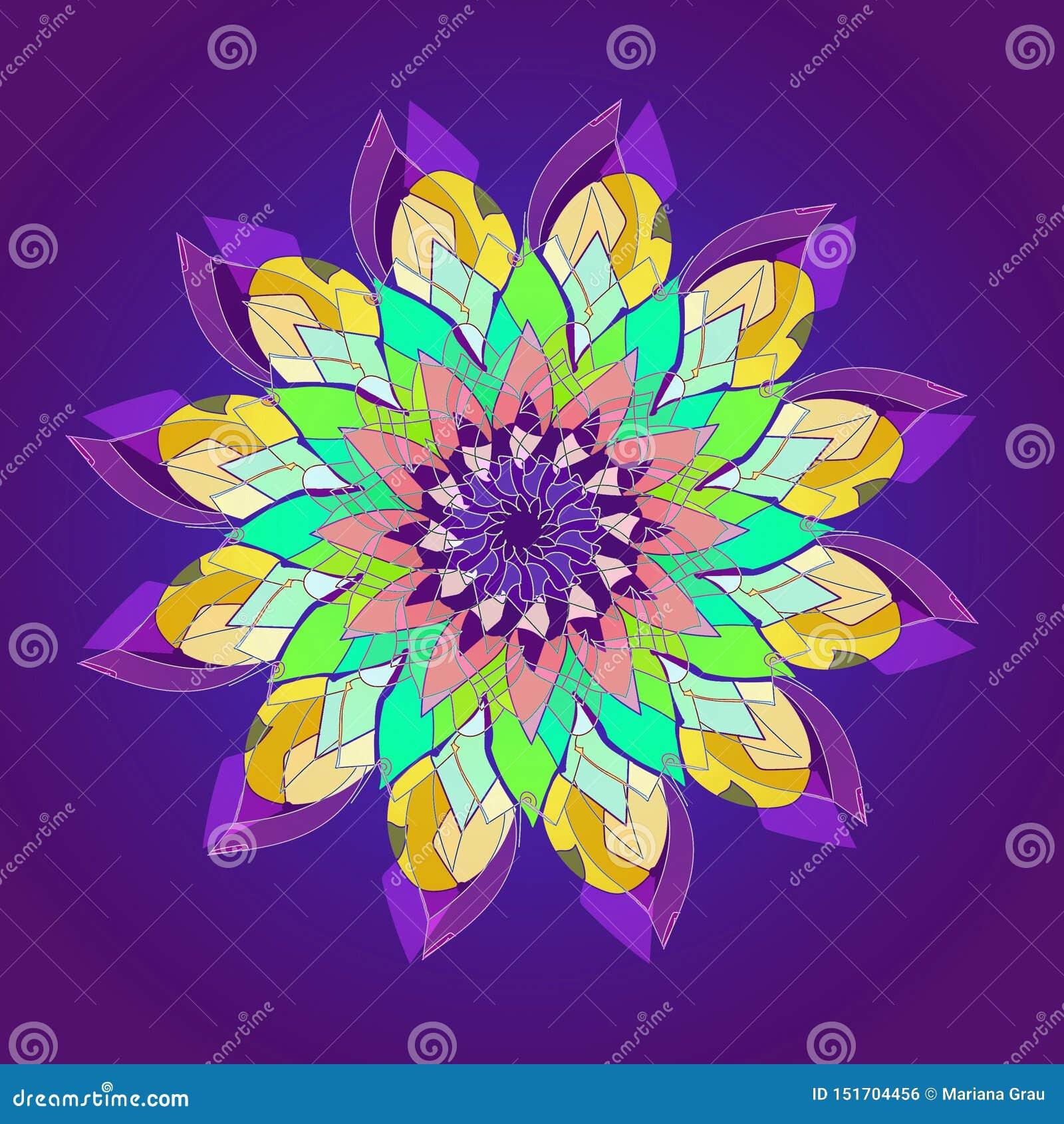 Mandala de fleur de Lotus FOND VIOLET SIMPLE FLEUR CENTRALE EN JAUNE, TURQUOISE, AIGUE-MARINE, VIOLETTE, POURPRE Conception lin?a