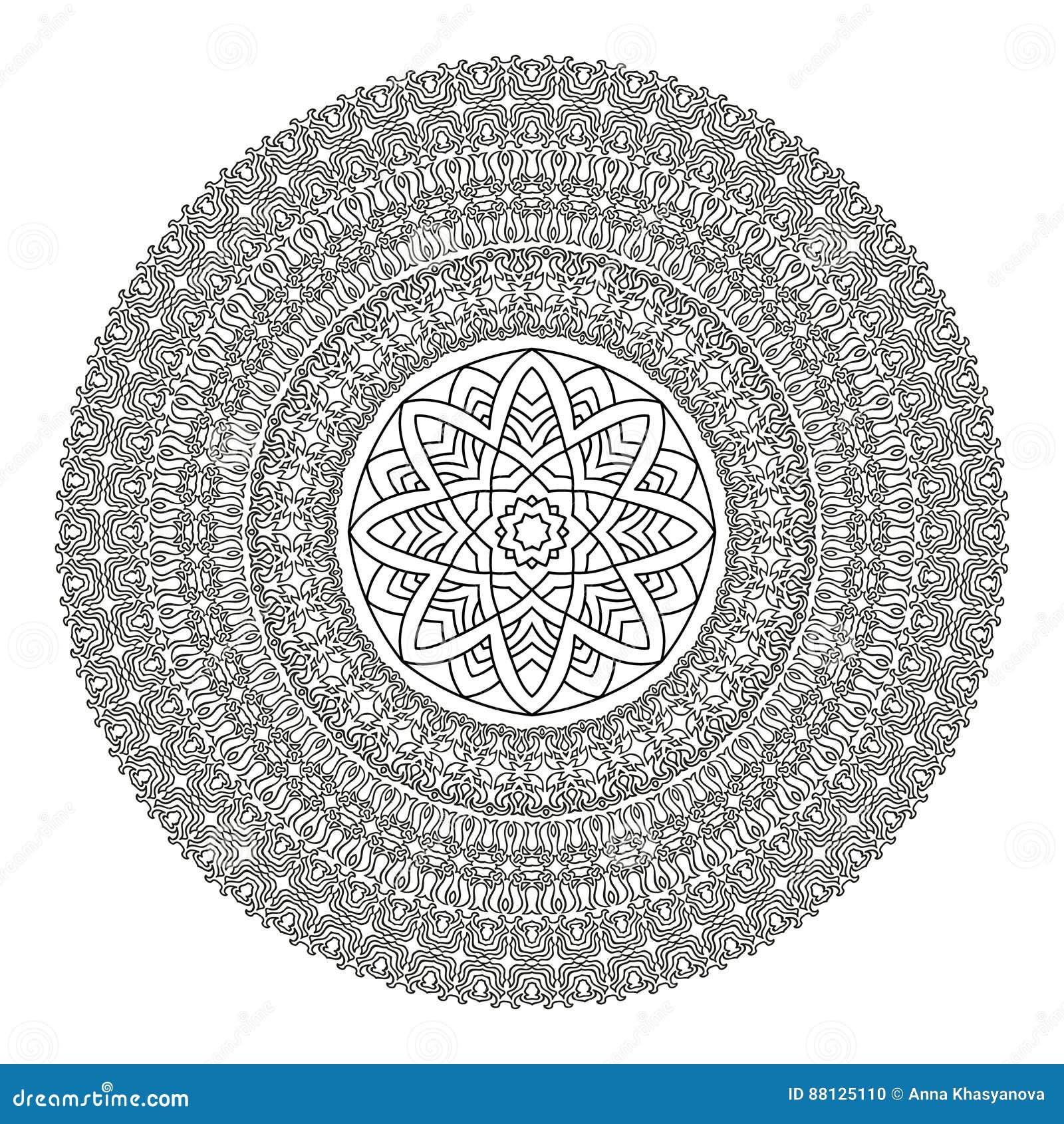 Modele Fleur Coloriage.Mandala De Fleur Pour Livre De Coloriage Modele Ethnique Noir Et