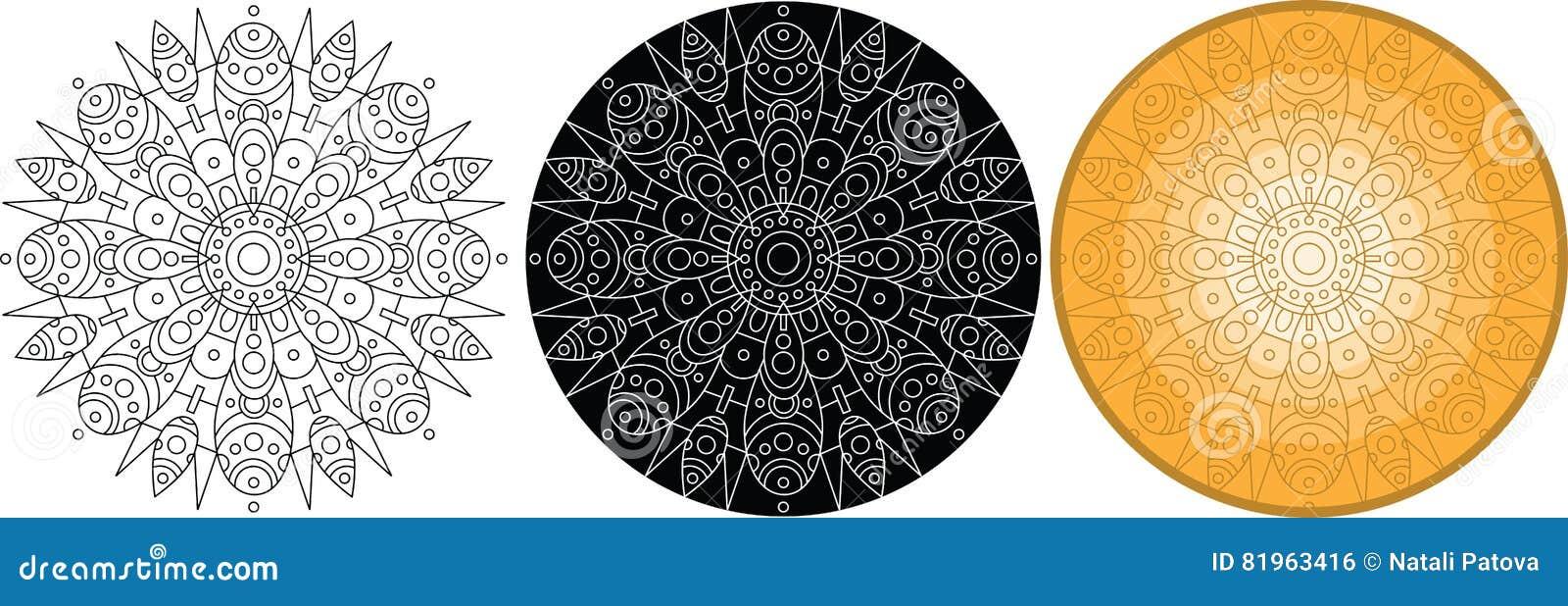 Coloriage Fleur Doranger.Mandala De Fleur Pour Livre De Coloriage Ornement Rond Illustration