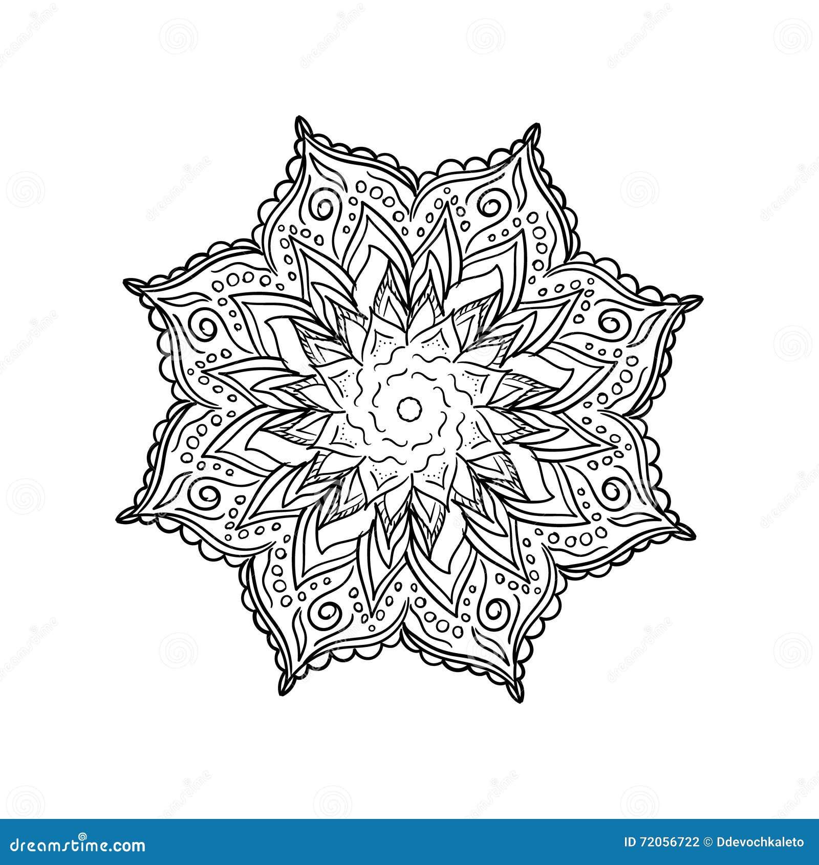 Mandala De La Flor Del Garabato Ilustración del Vector - Ilustración ...